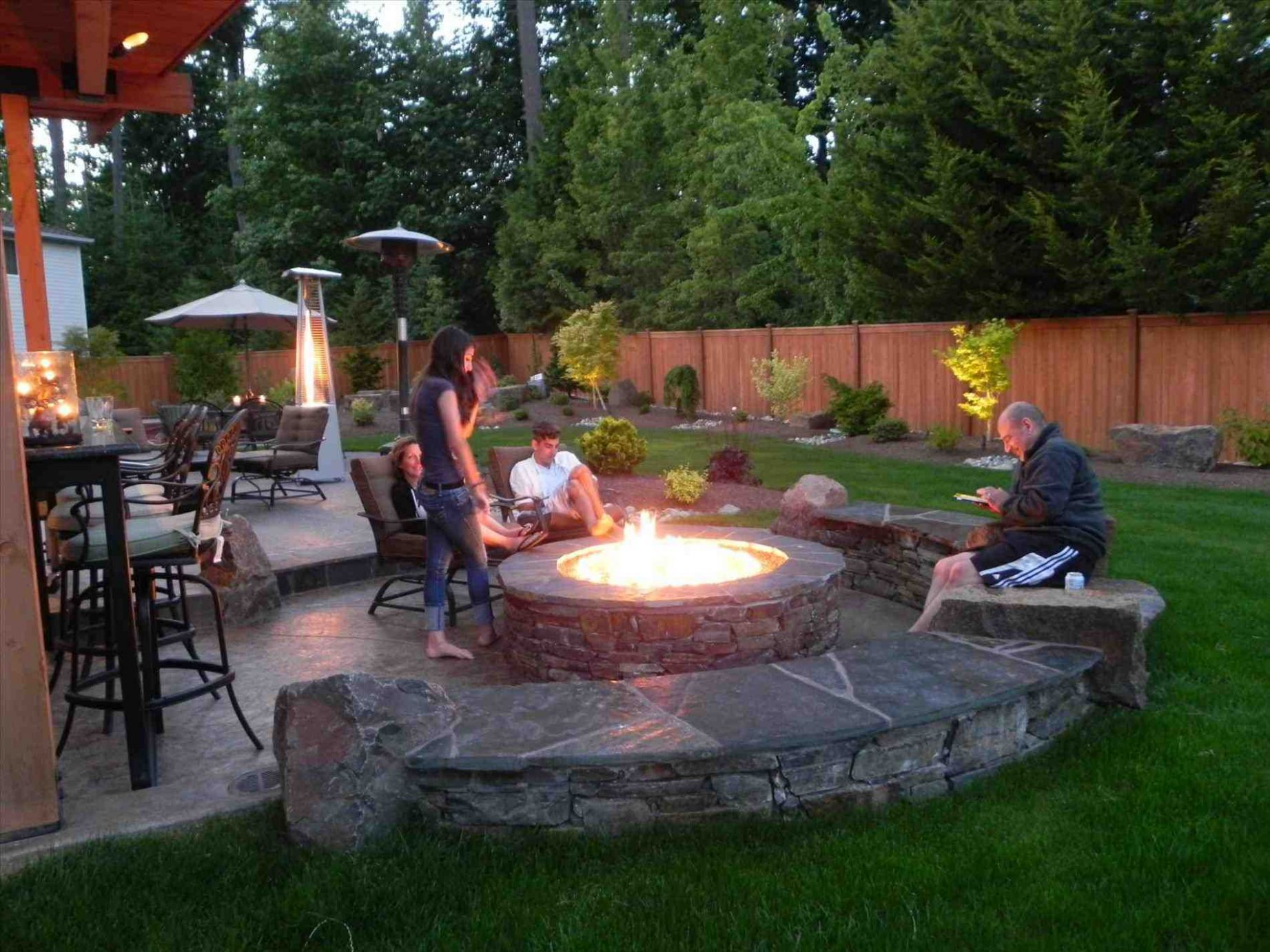 Backyard Patio Designs With Fire Pit Pool Design Including Simple ...