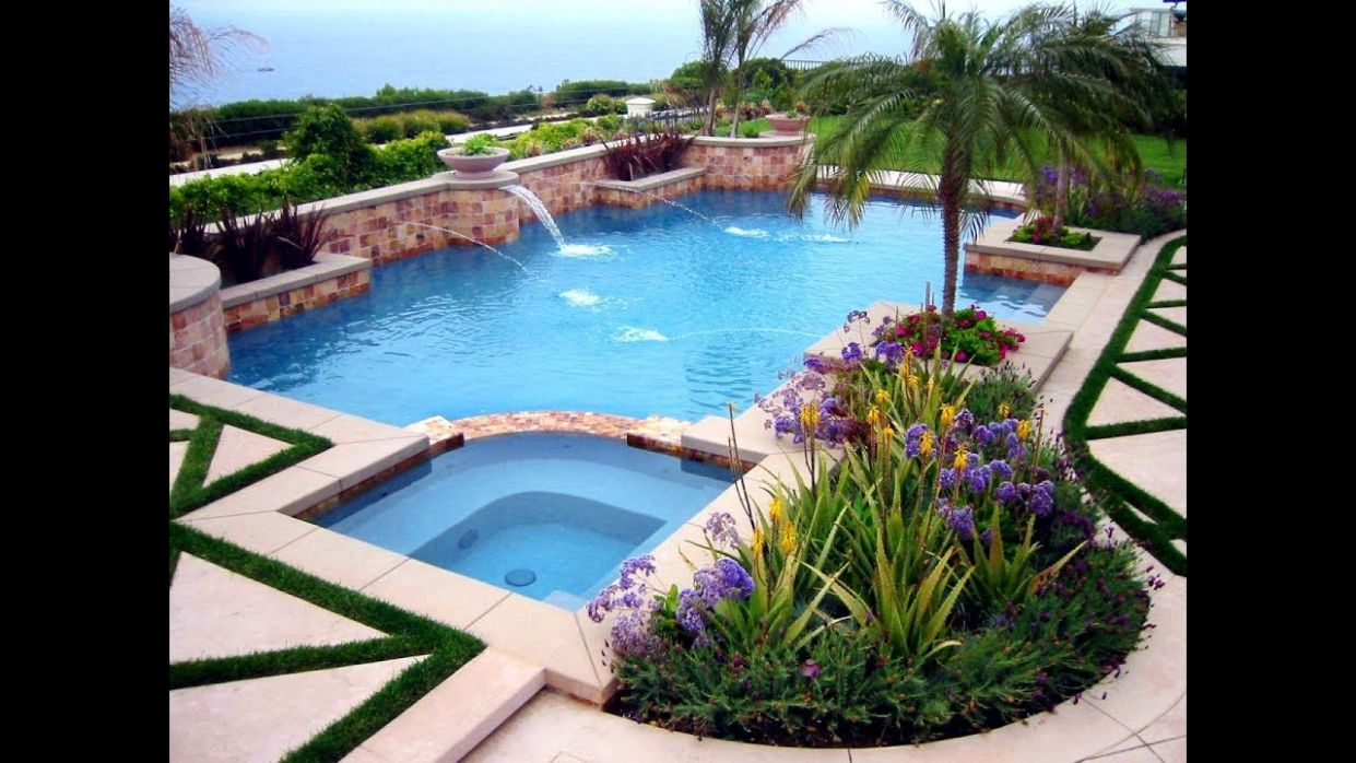 Backyard With Pool Landscaping Ideas Rectangular Cost Landscape ...