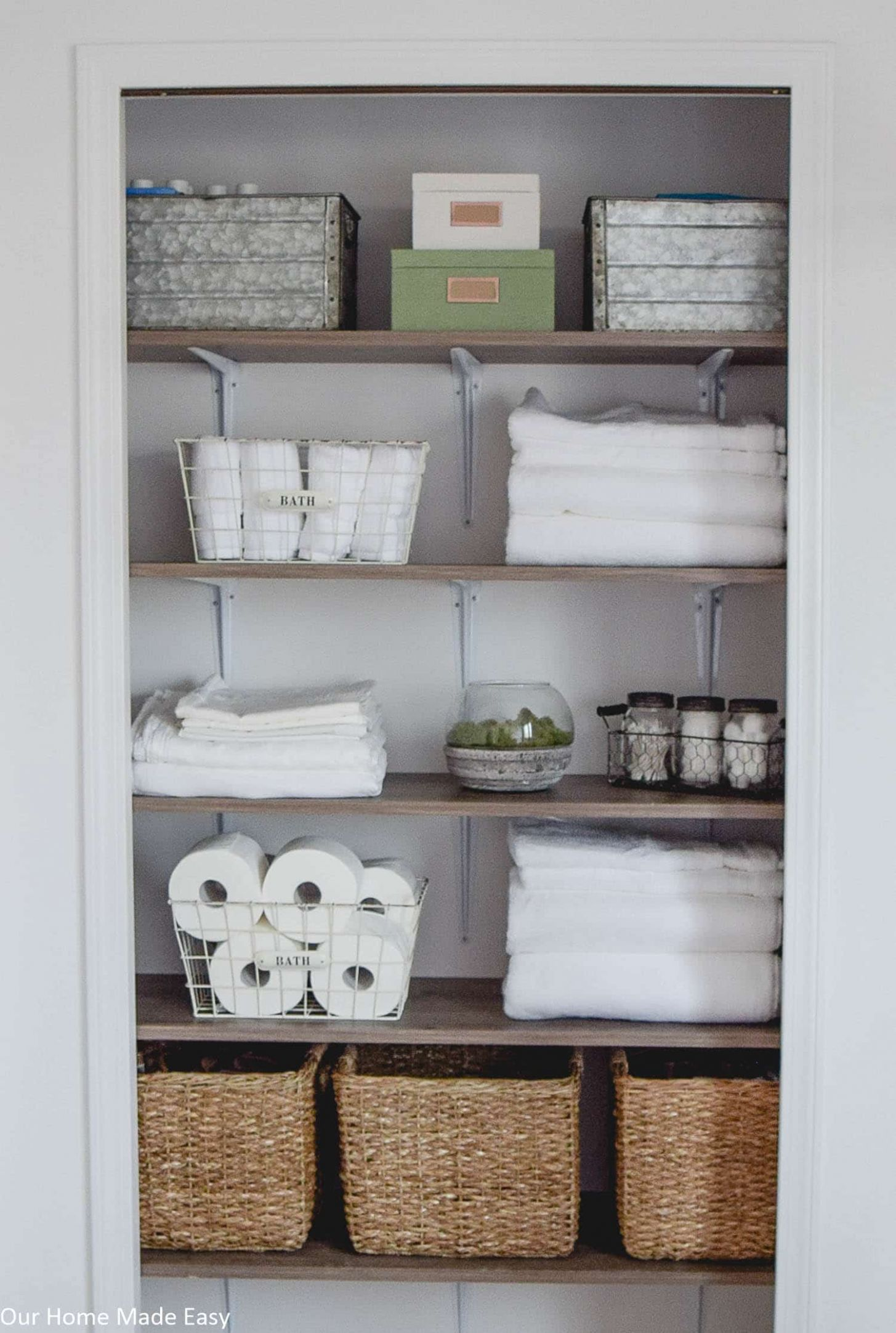Bathroom Linen Closet Reveal – Our Home Made Easy - closet ideas bathroom