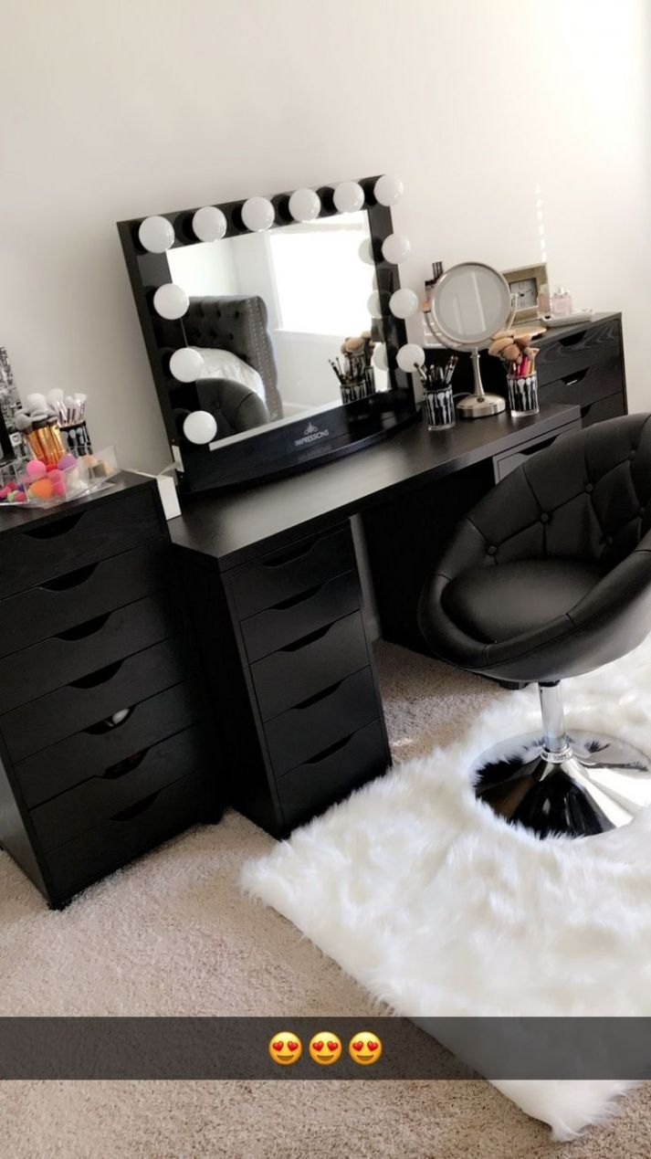 Beautiful black vanity makeup room! Has IKEA alex drawers and ..