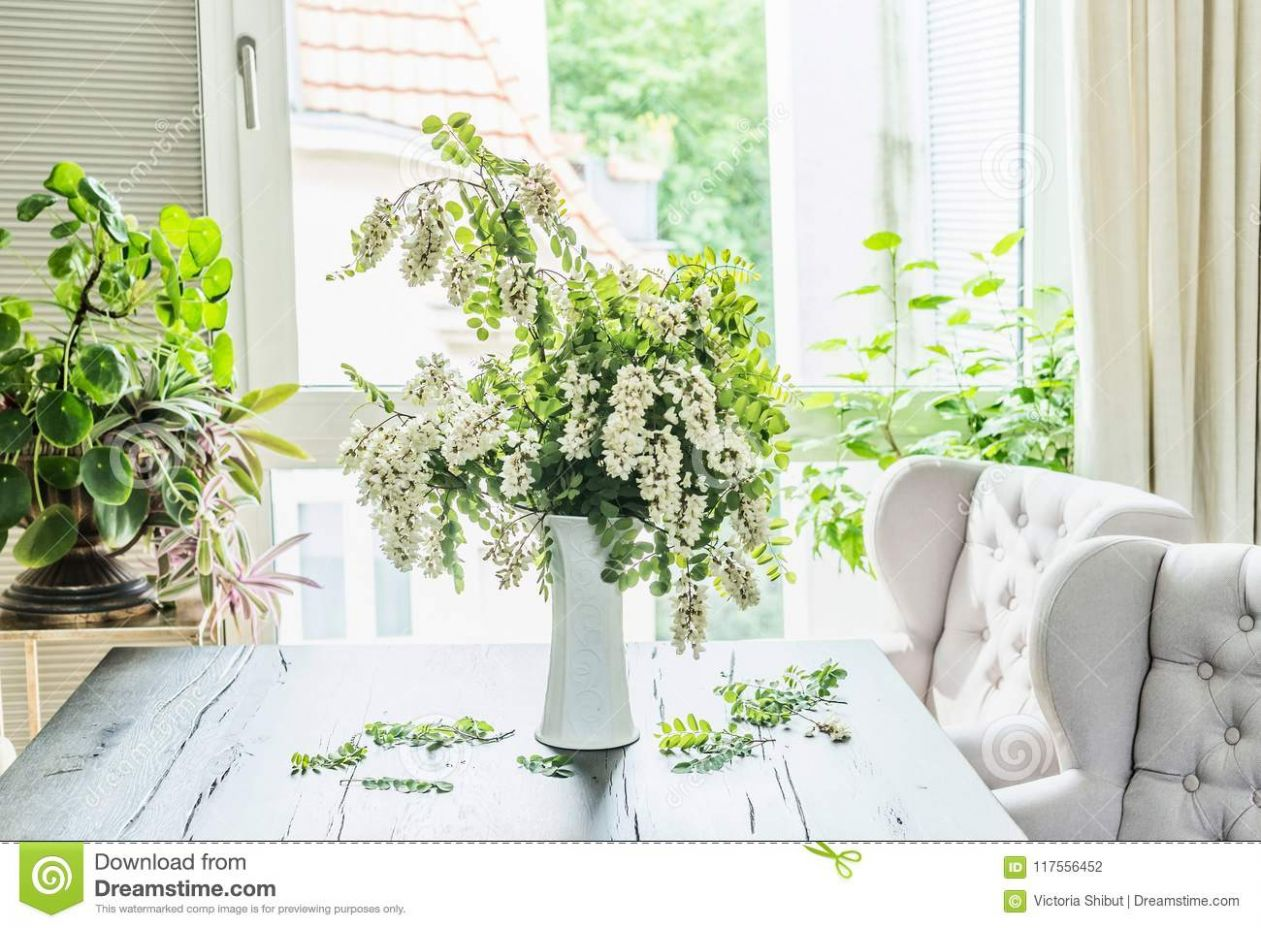 Beautiful Flowers Bunch With Blossom Acacia Branches In White Vase ..