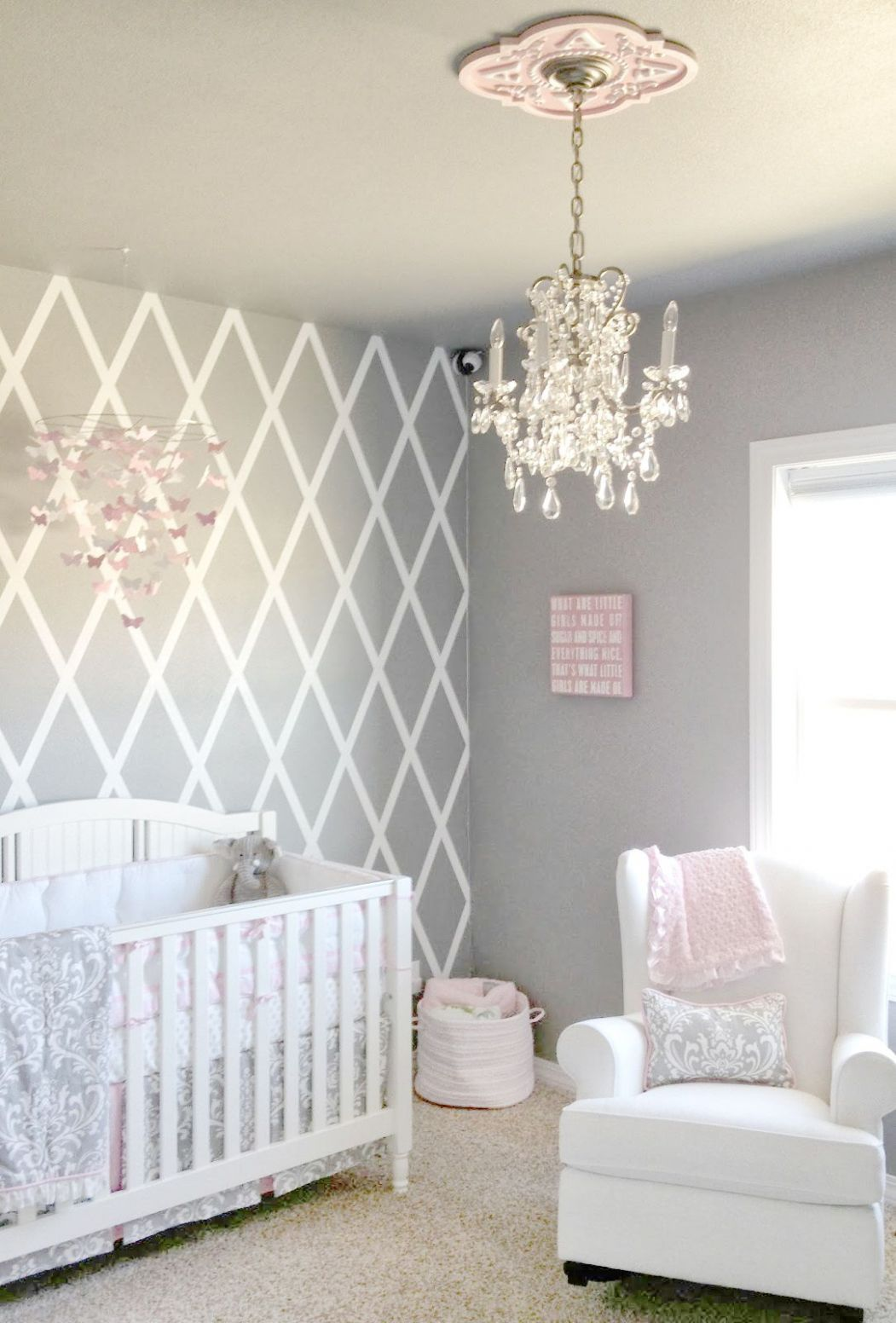 Beautiful gray and pink nursery features our Stella Gray Baby ..