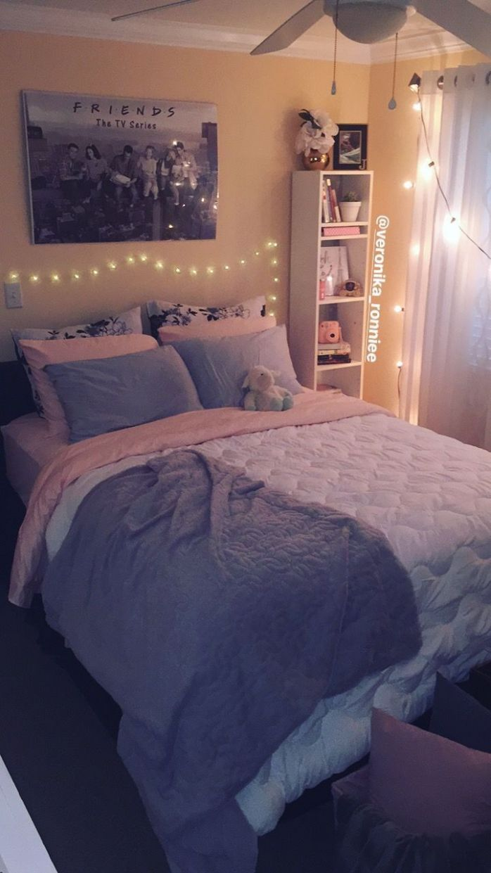 Bedroom decor/gray and pink decor/ white and gray bedroom/ peach ...