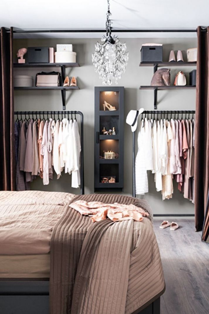 Bedroom open shelving and closet | Apartman dairesi dekorasyonu ...