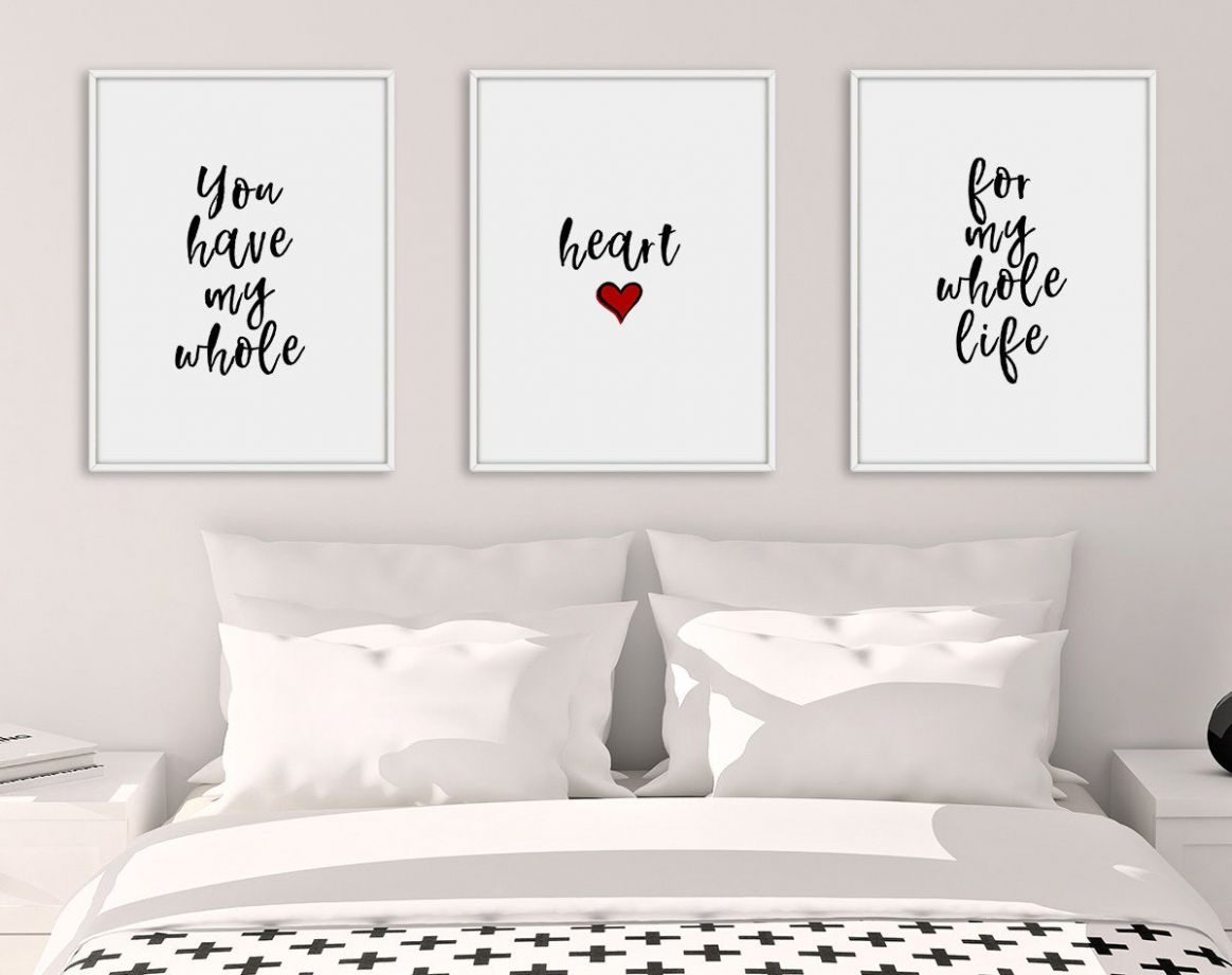 Bedroom Print Set, Set of 12 Prints, Bedroom Prints, Heart Decor ...