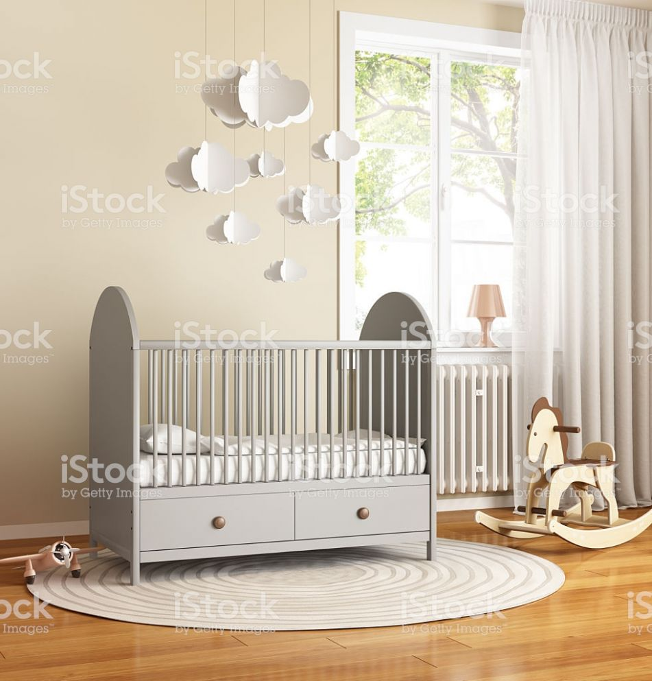 Beige And Grey Nursery Baby Room With Rug Stockfoto und mehr ..