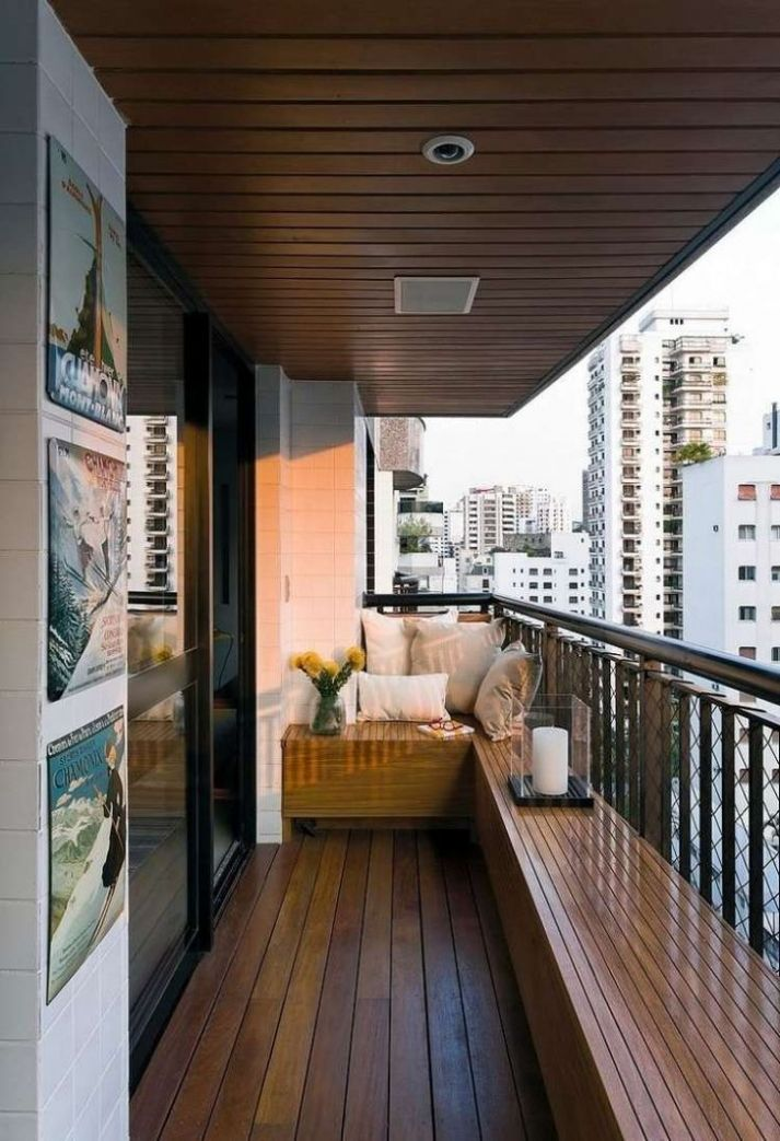 Bench and ceiling paneling made of wood for the small balcony ..