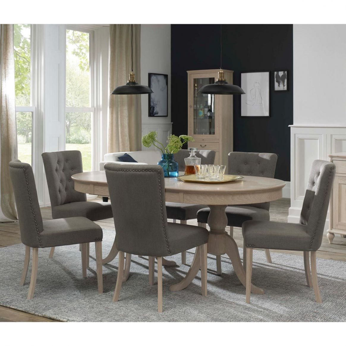 Bentley Designs Margaux Chalk Oak Extending Dining Table + 10 Fabric  Upholstered Chairs, Seats 10-10 | Costco UK