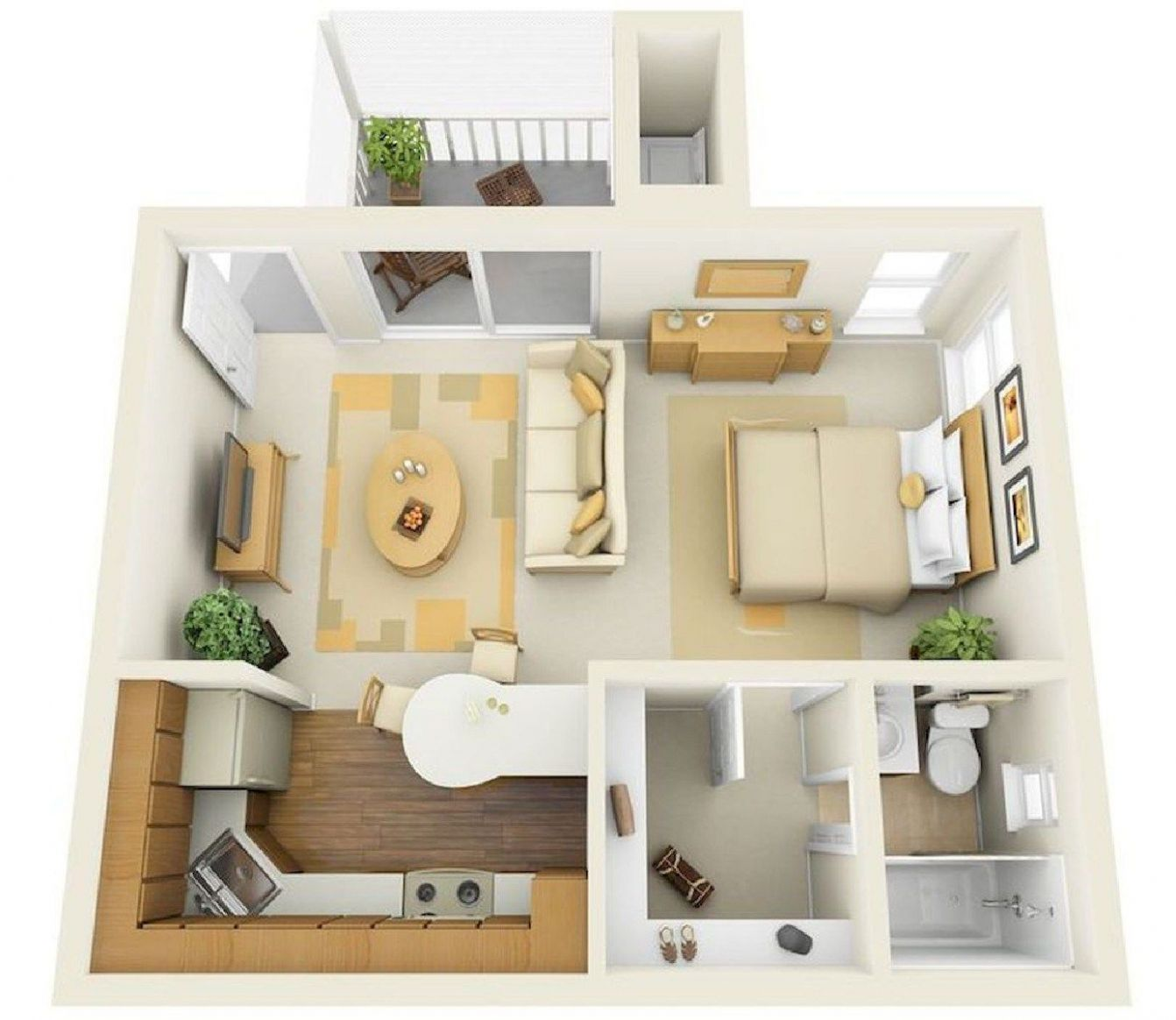 Best Layout Ideas for One Room Apartment Design 11 | Apartment ..
