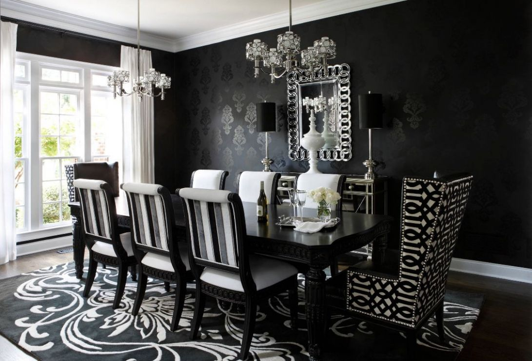 Black and white dining room - dining room ideas black and white