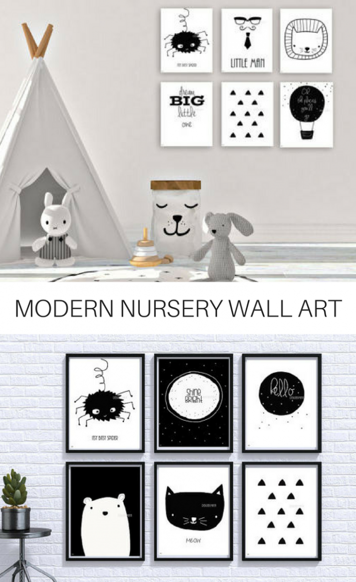 Black and White wall art, perfect for a modern nursery. Modern ..