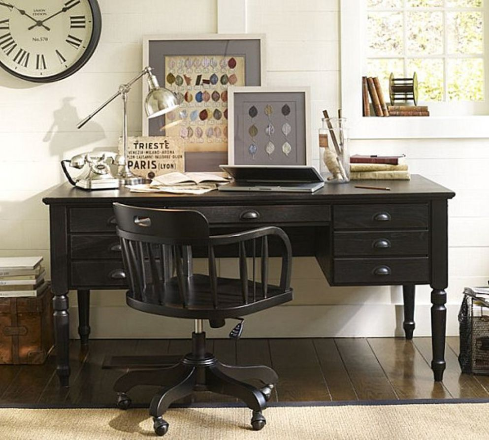 Black Desk With Wooden Swivel Chair For Clic Home Office Computer ..