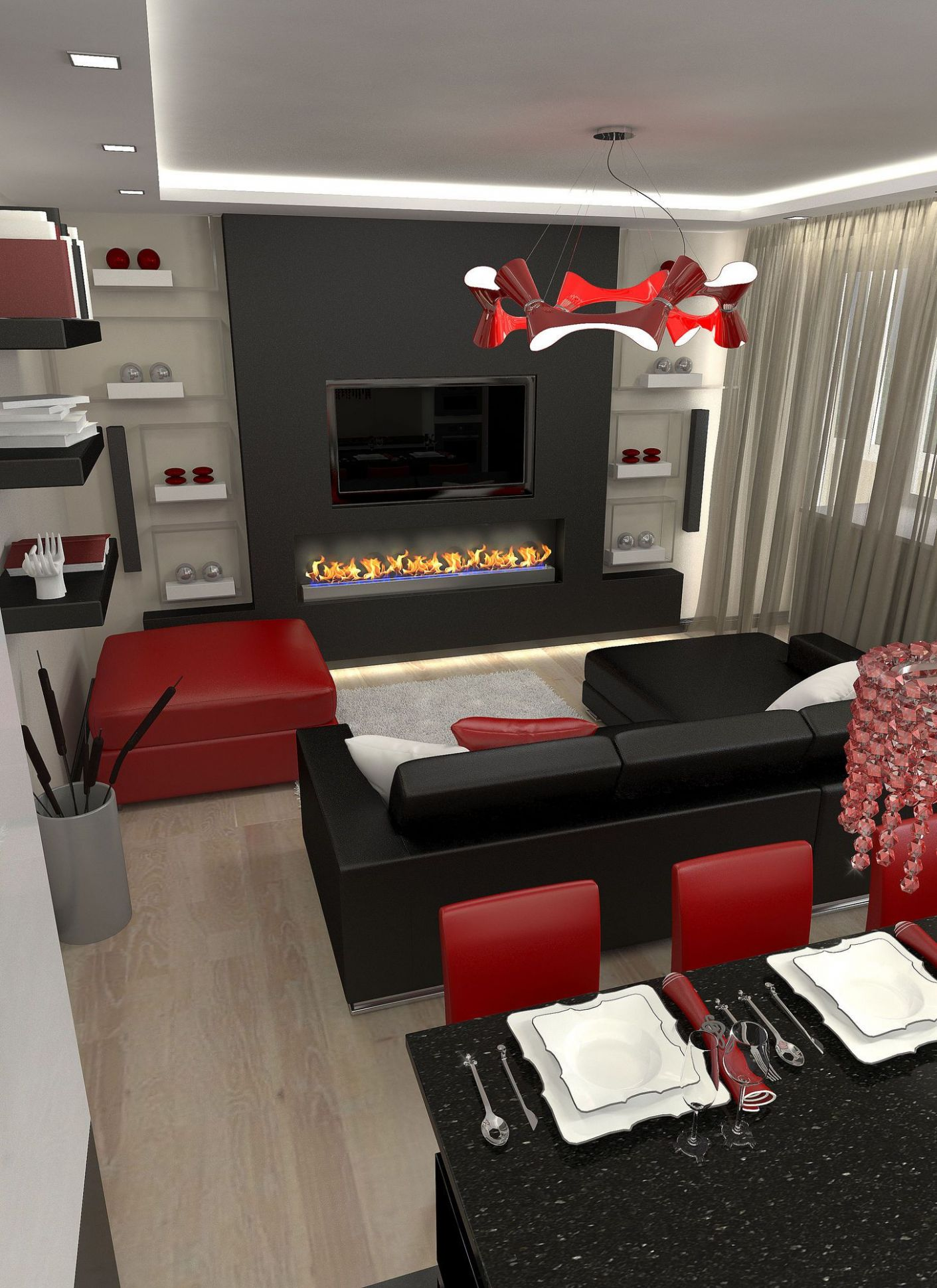Black Gray Red Living Room (With images) | Black and red living ..