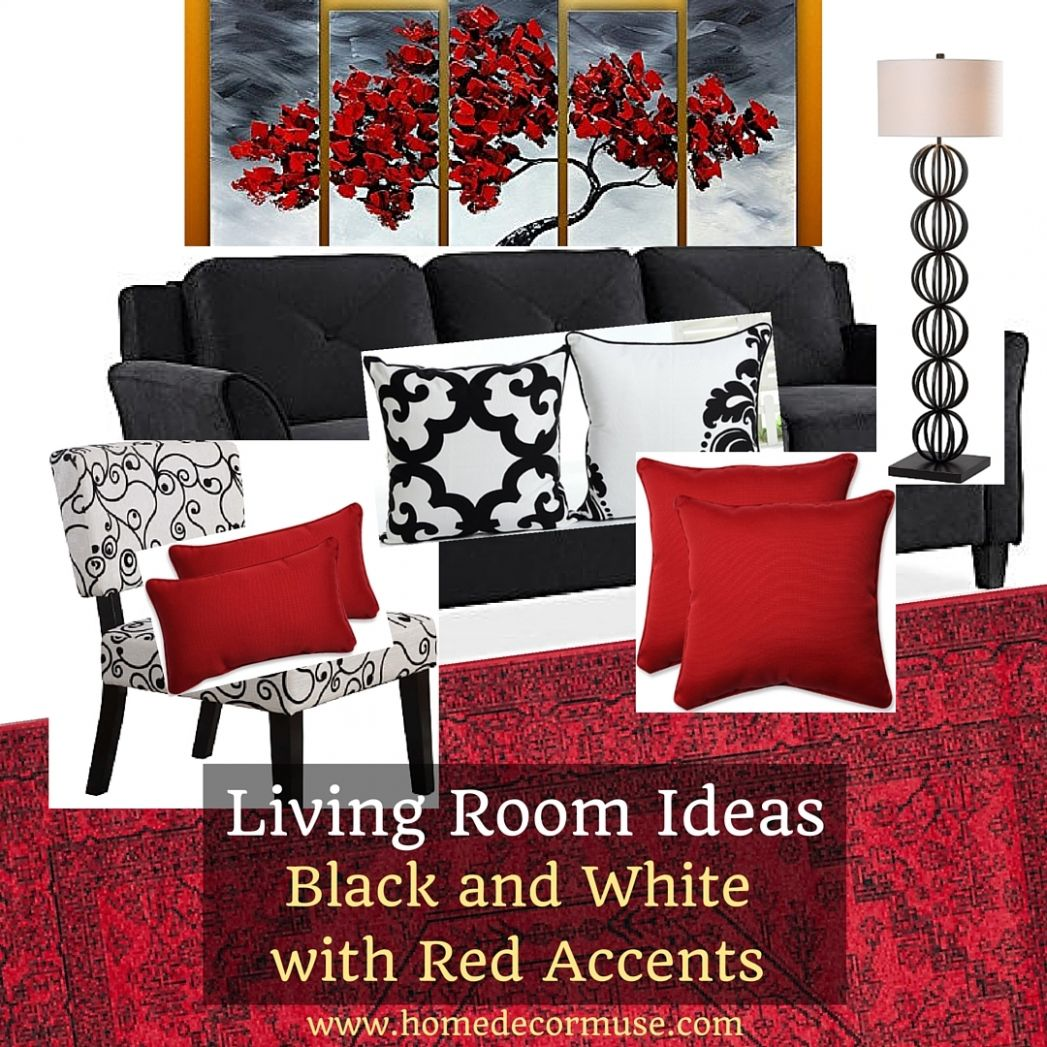 Black White Living Room Red Accents Home Decor Muse – Saltandblues - living room ideas red black grey