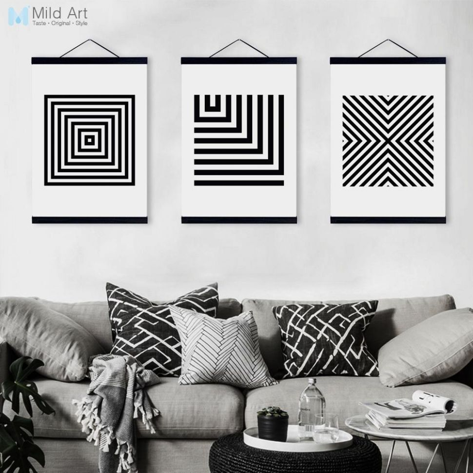 Black White Minimalist Geometric Wooden Framed Canvas Paintings ..