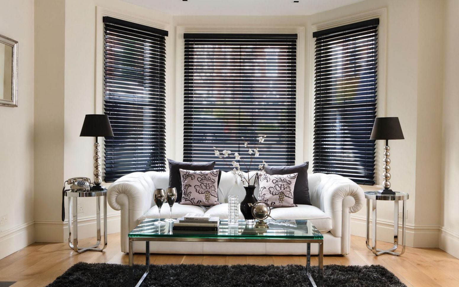 Black Wood Blinds for Windows | Living room blinds, Wooden blinds ...