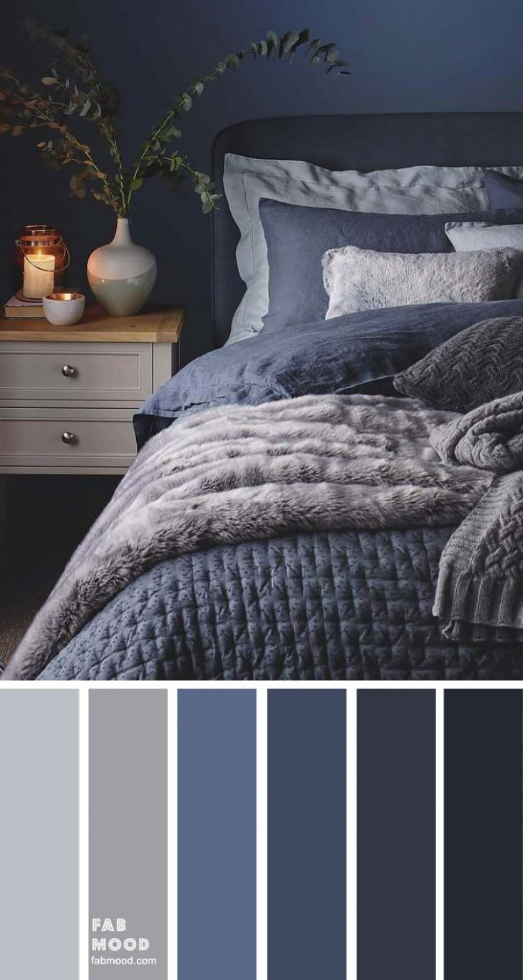 Blue, Charcoal and Grey Bedroom