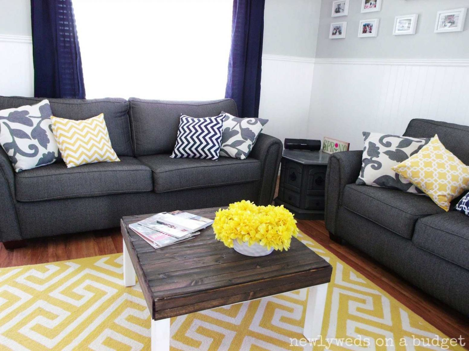 Blue Grey Yellow Living Room Trends Also Awesome Gray And Bedroom ..