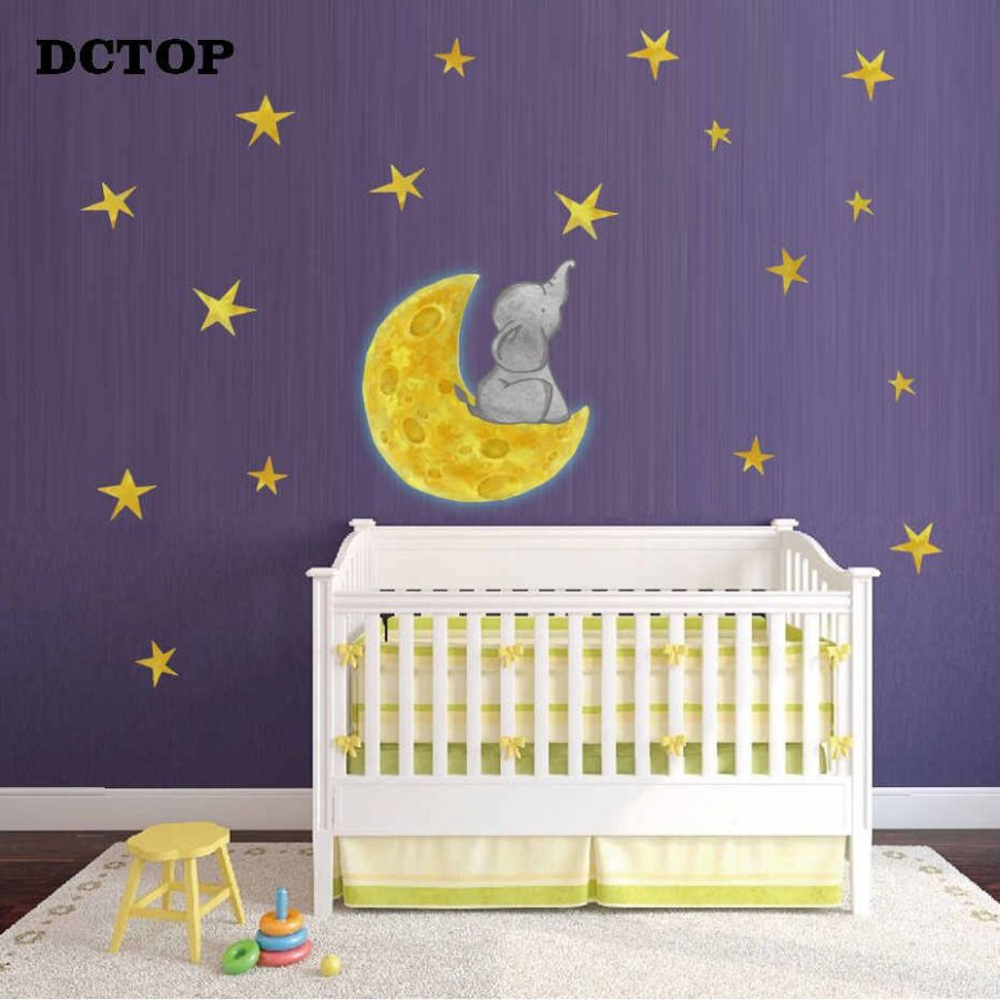 Cartoon Small Elephant Moon Stars Wall Stickers Bedroom Kids Baby rooms  Nursery Wall Home Decor Removable Wall Decals Art Murals