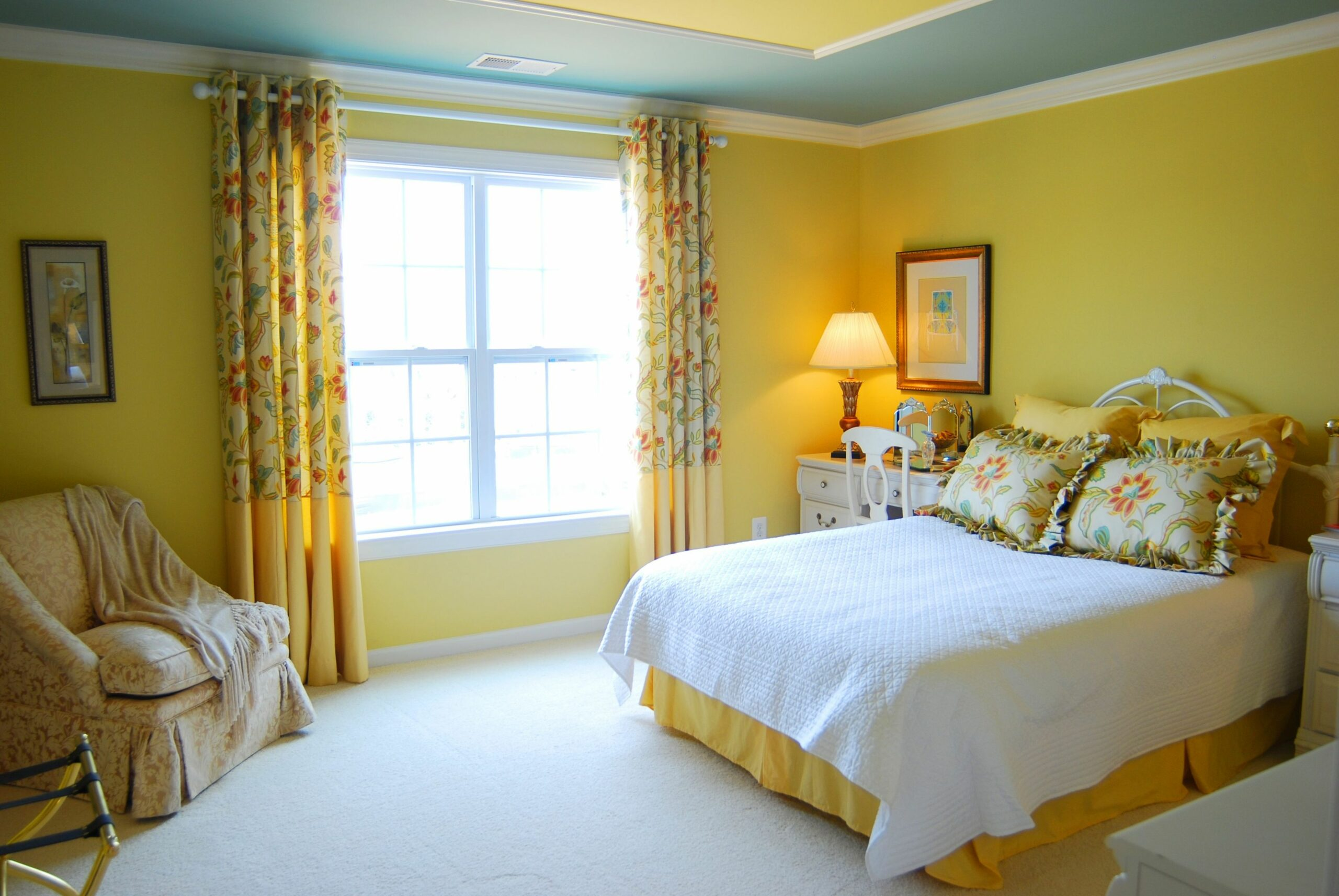Catchy Yellow Teenage Girls Bedroom Paint Color Idea with Yellow ...