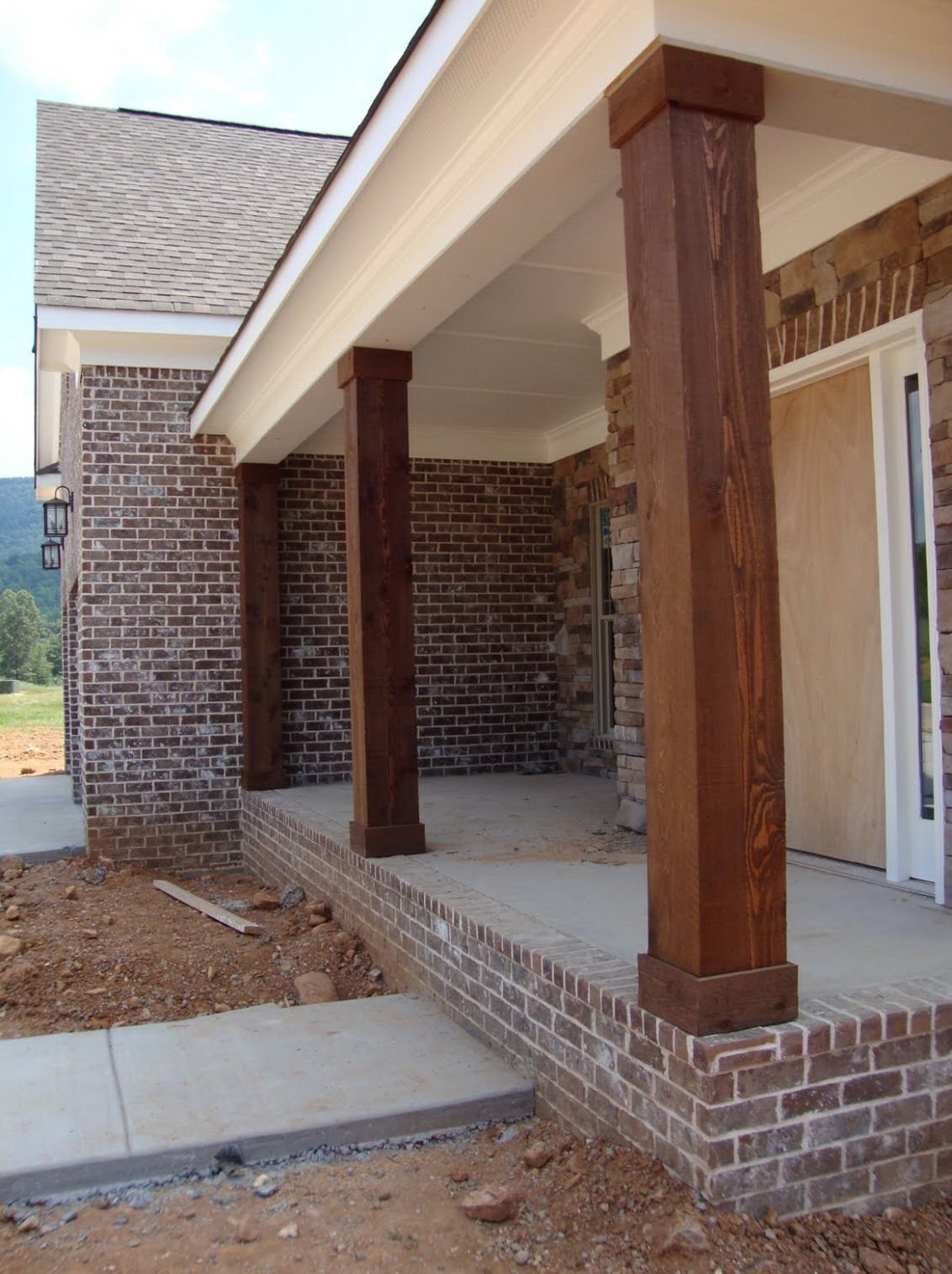 Cedar Porch Post Ideas - front porch material ideas
