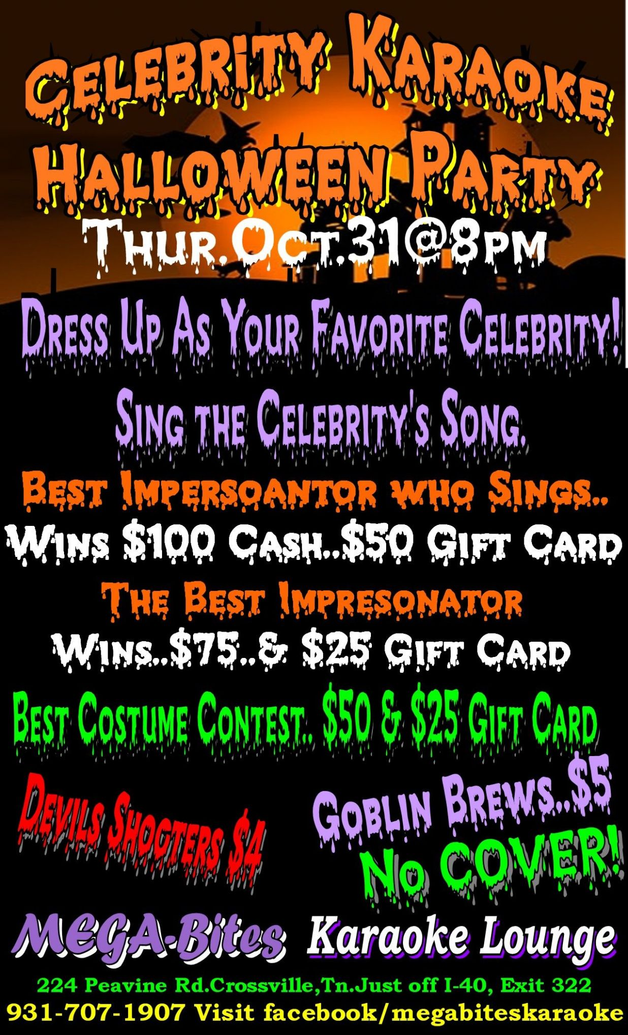CELEBRITY KARAOKE HALLOWEEN PARTY Thur.Oct.11@11pm Dress Up As Your ...