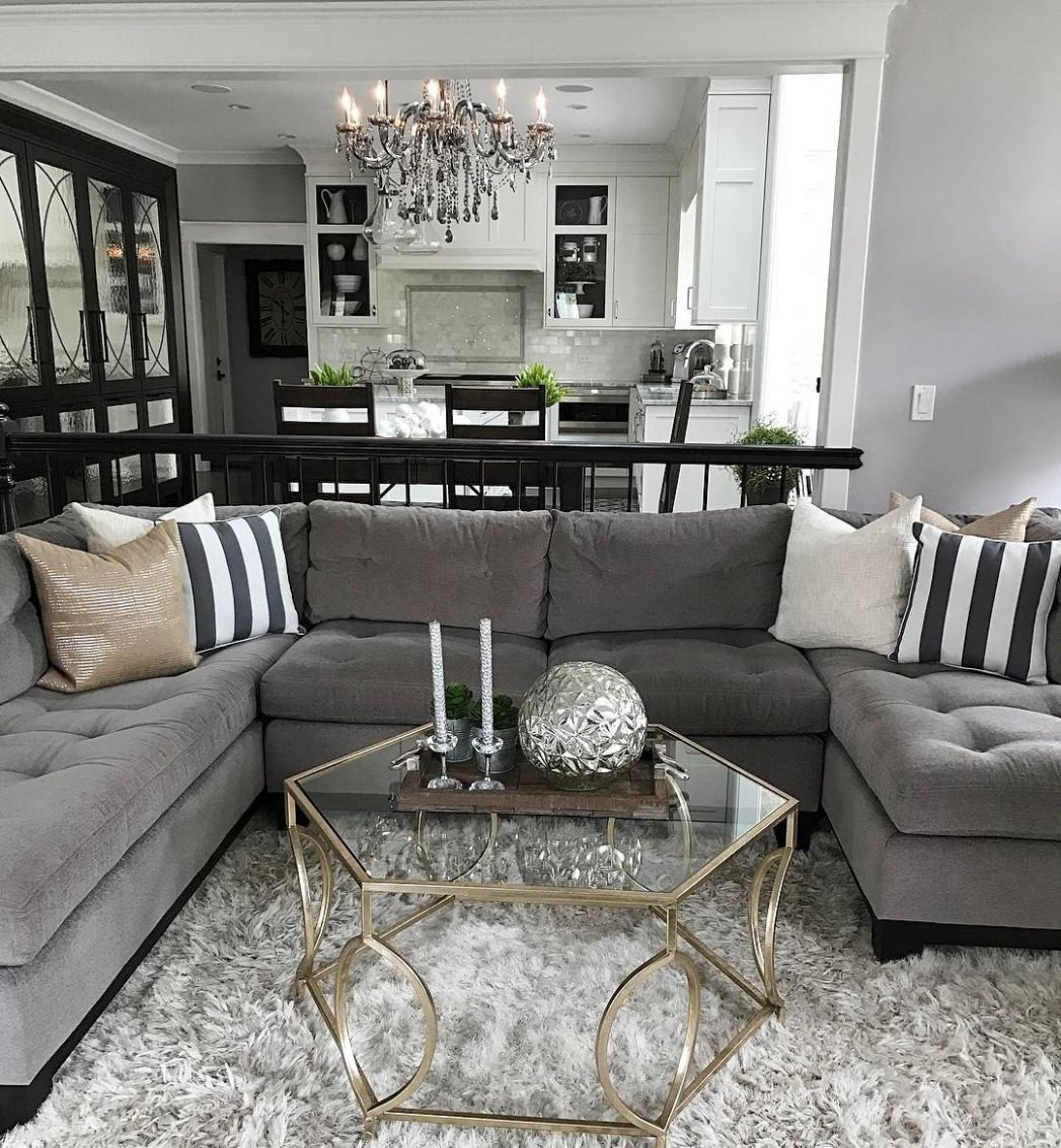 Change up the gray couch with and chic black and white striped ..