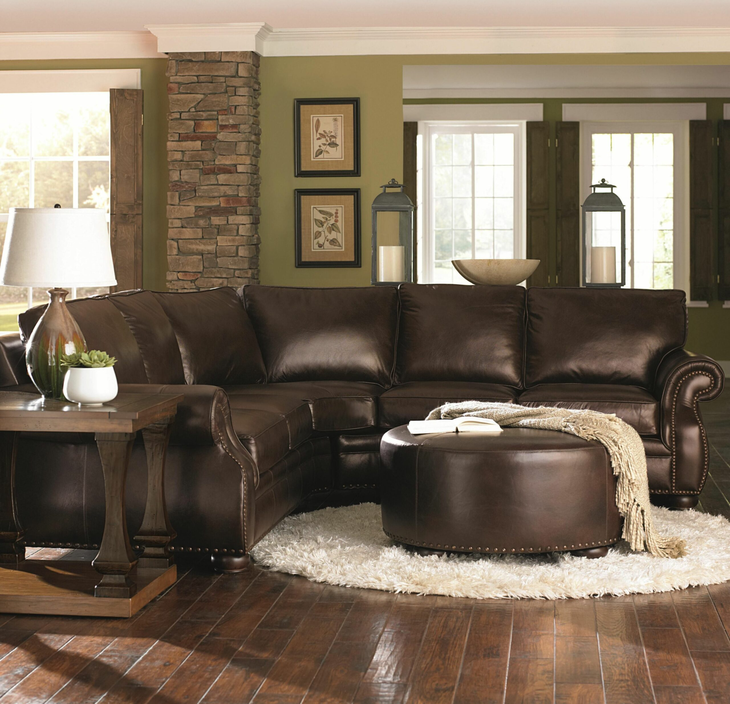 Chocolate Brown Leather Sectional w/ Round Ottoman - living room ideas with brown leather couch