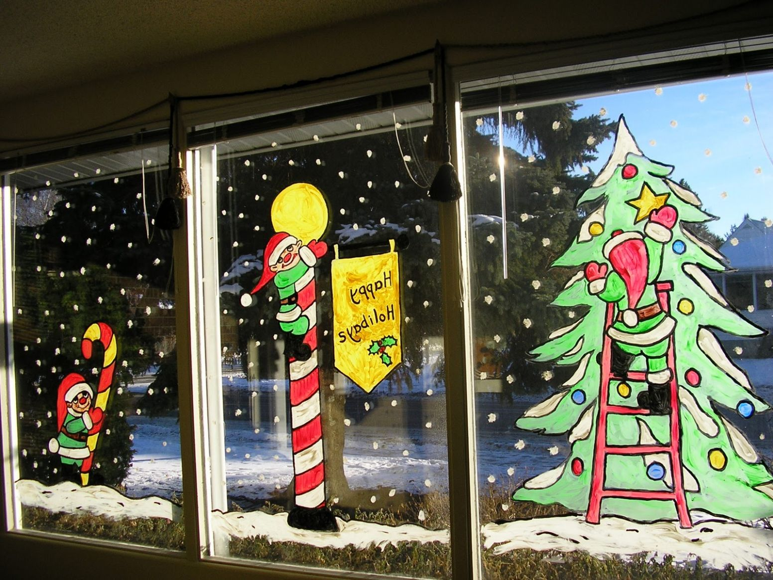 Christmas Window paintings - window painting ideas for christmas