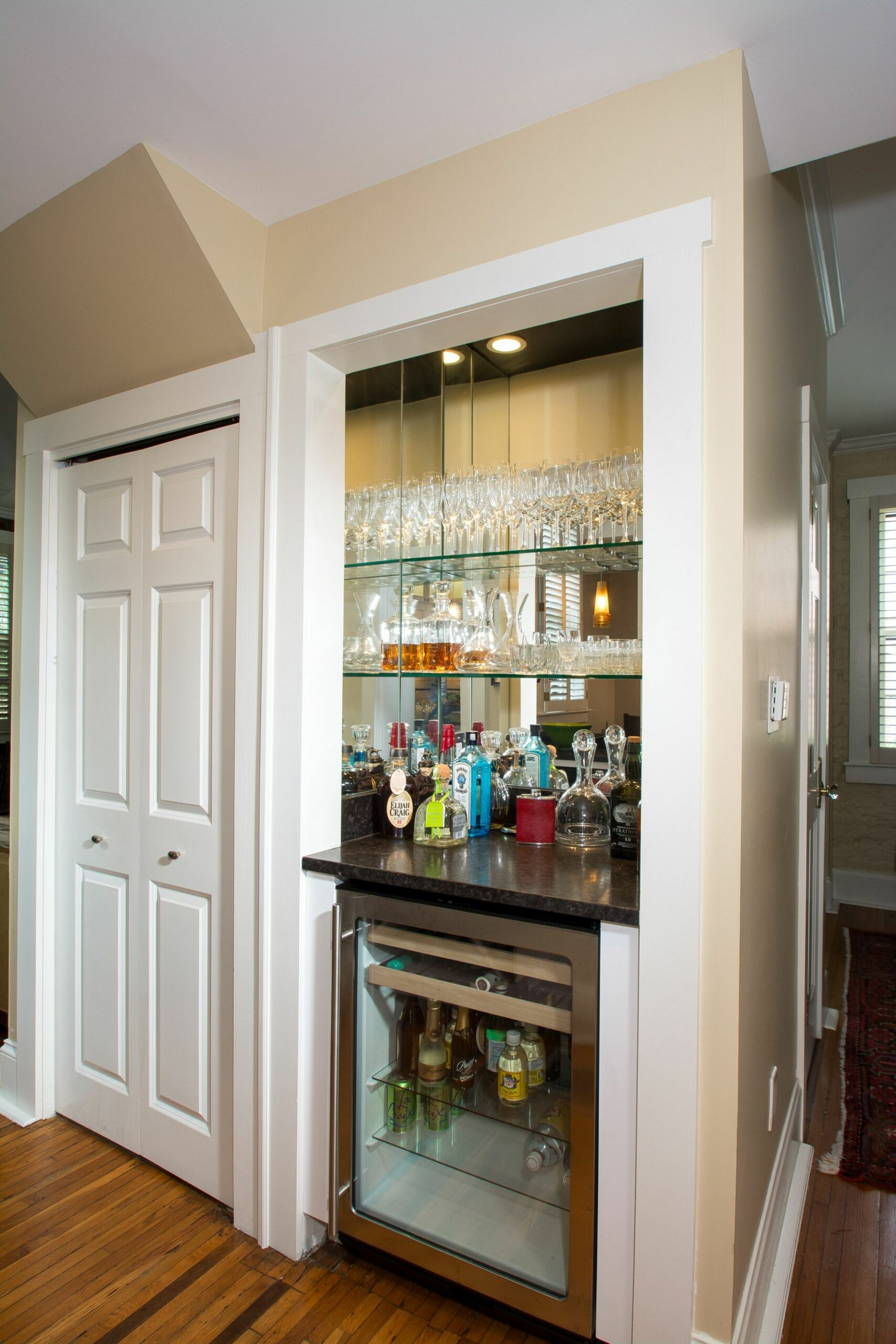 Closet converted to wine bar with beverage refrigerator. www ...