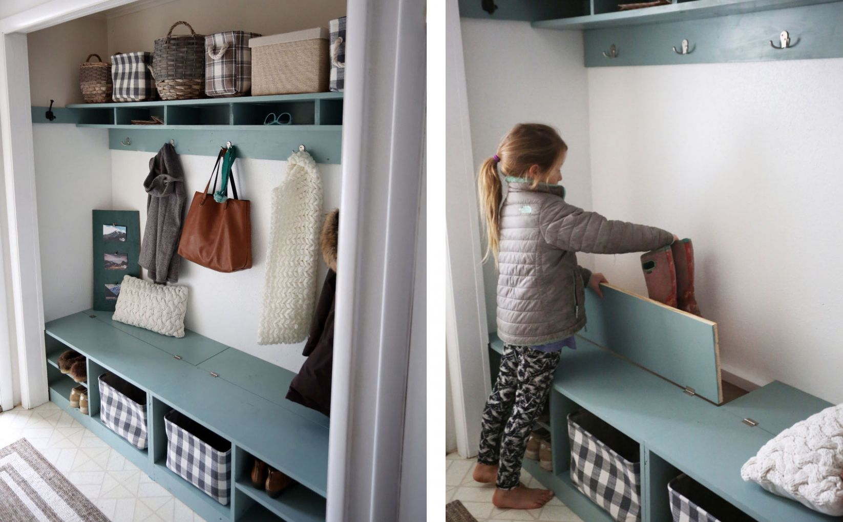 Closet Mudroom Bench with Hinge Up Boot Storage Compartment | Ana ..
