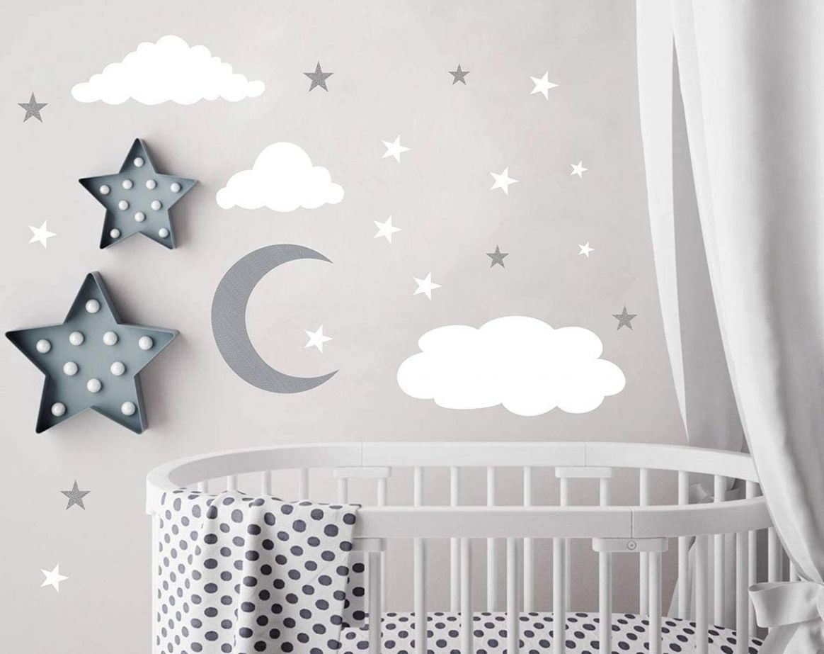 Clouds Wall Decals Moon and Stars Wall Decal Kids Wall Decals Wall Stickers  Peel and Stick Removable Wall Stickers Baby Room Decoration Good Night ...