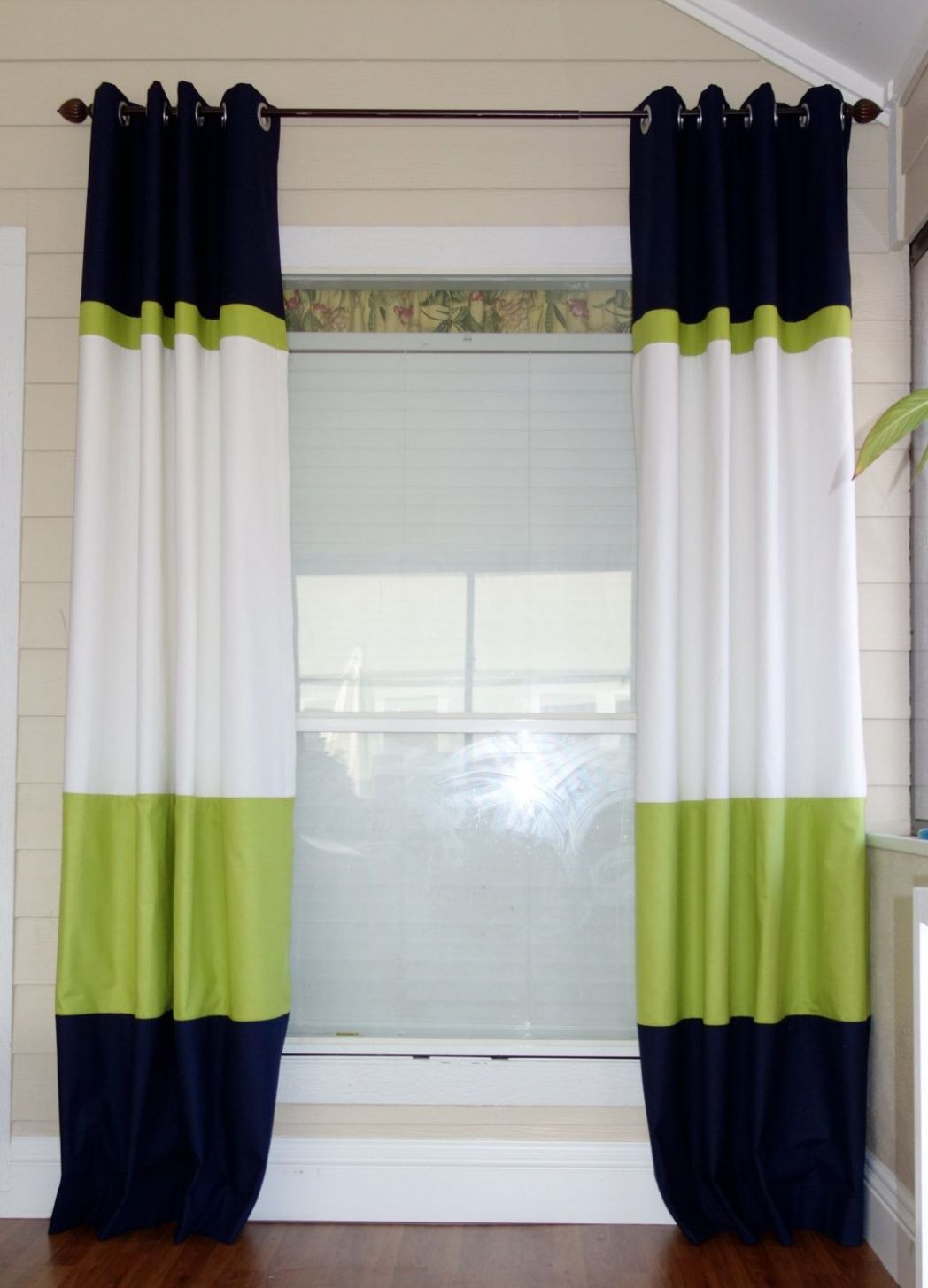 Color block curtain panels. LOVE this idea for the sliding glass ...