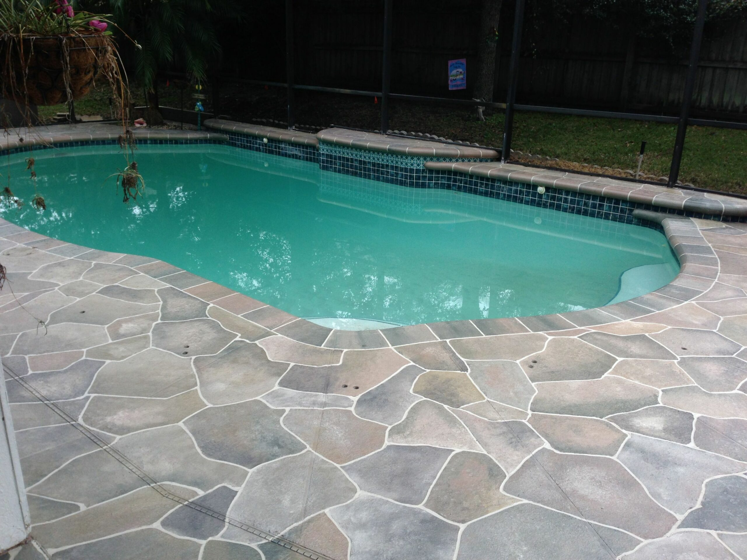 colored concrete pool deck ideas | Flagstone pool deck | Pool deck ..