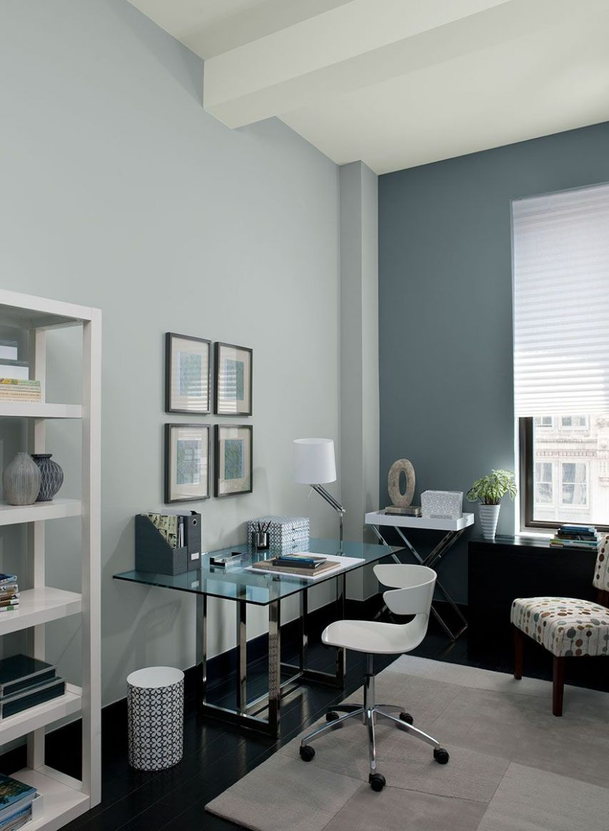 Colour a Room | Gray home offices, Blue home offices, Home office ...