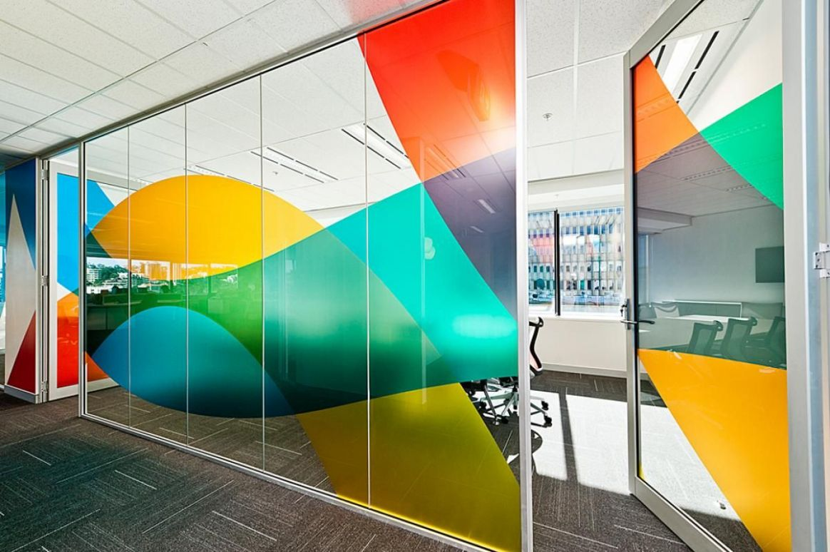 Colourful window graphic in an office #office #wall #graphic ...