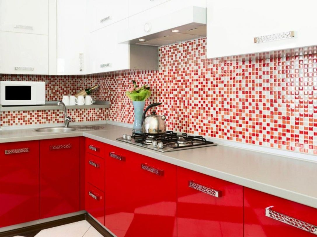Comely Modern Kitchen Design Ideas With Red Kitchen Cabinet And ...