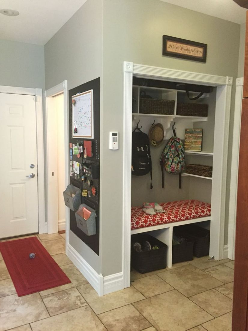 Converted coat closet to mudroom | Closet remodel, Front hall ...