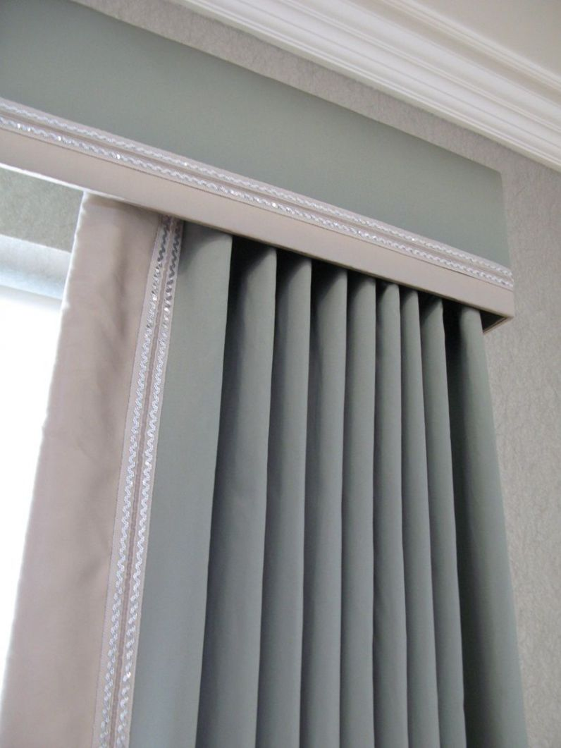 Cornice and curtains with contrast trim; can always just do a ...