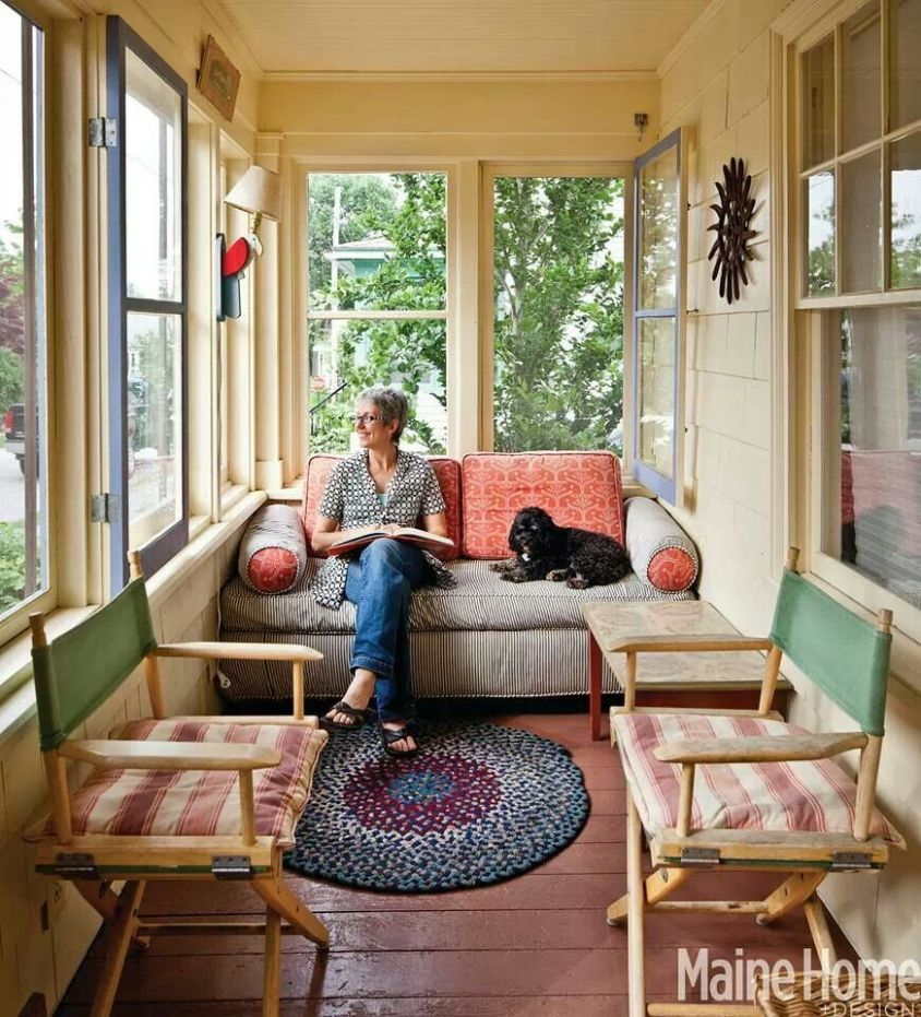Cozy space | Enclosed front porches, Small sunroom, Sunroom decorating