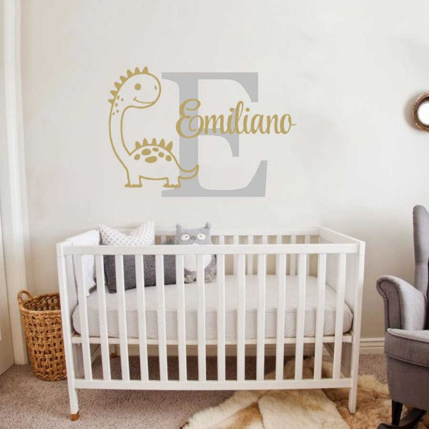 Custom Boy Name Wall Decal Cartoon Dinosaur Murals Baby Room Wall ..