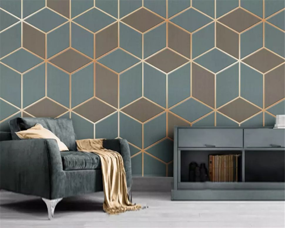Custom fashion wallpaper geometric gold lines modern minimalistic luxury  abstract background wall papers home decor - home decor wallpaper