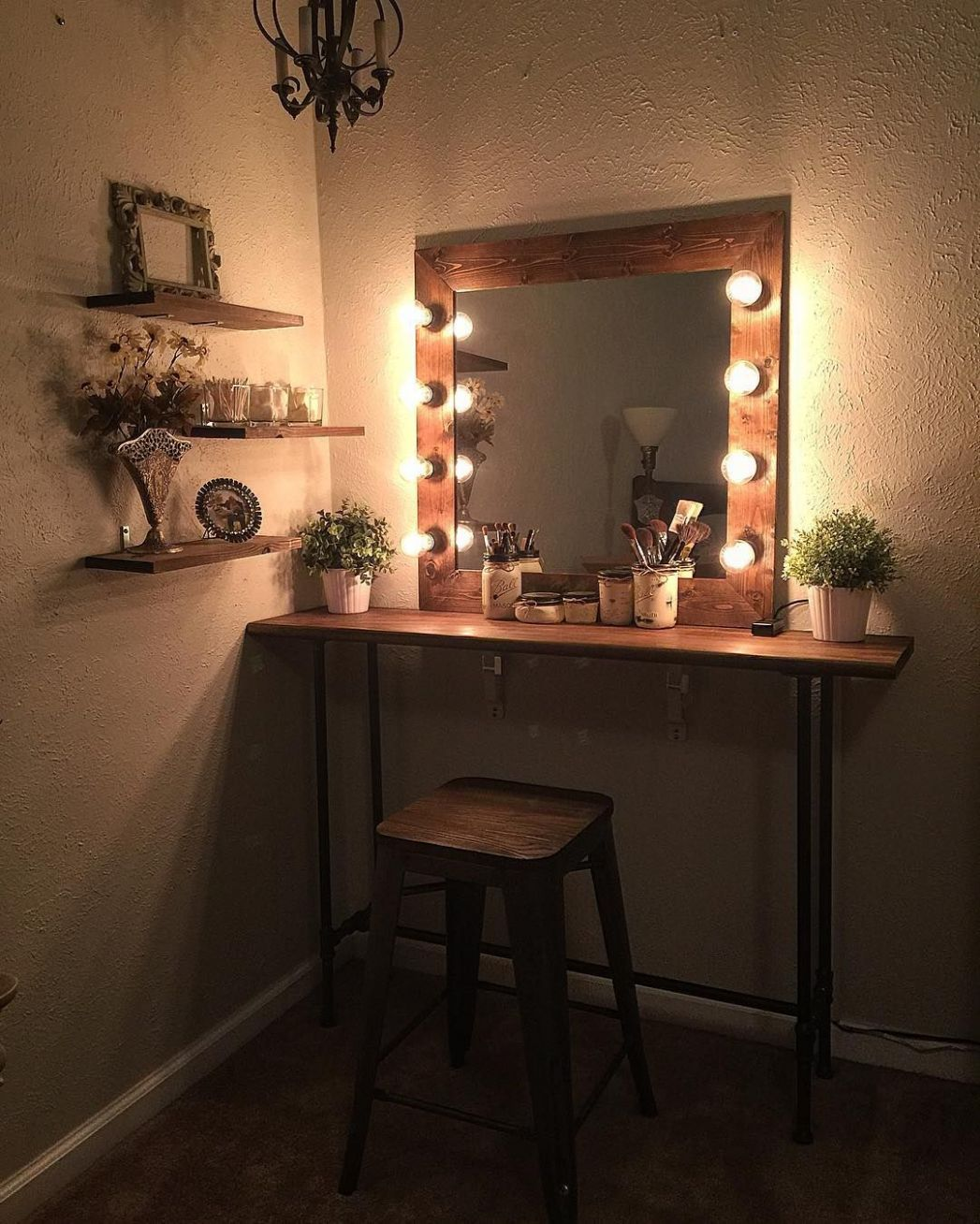 Cute easy simple DIY wood rustic vanity mirror with hollywood ..