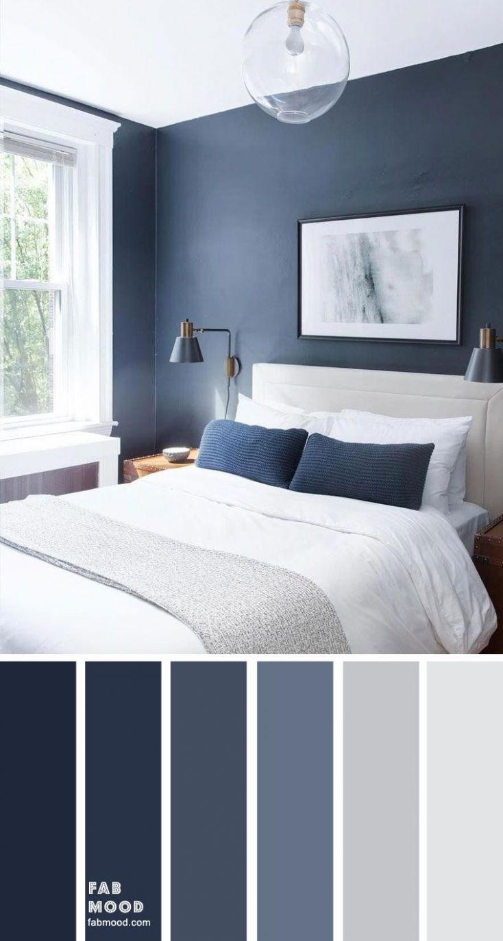 Dark blue and light grey bedroom color scheme in 8 | Grey ..