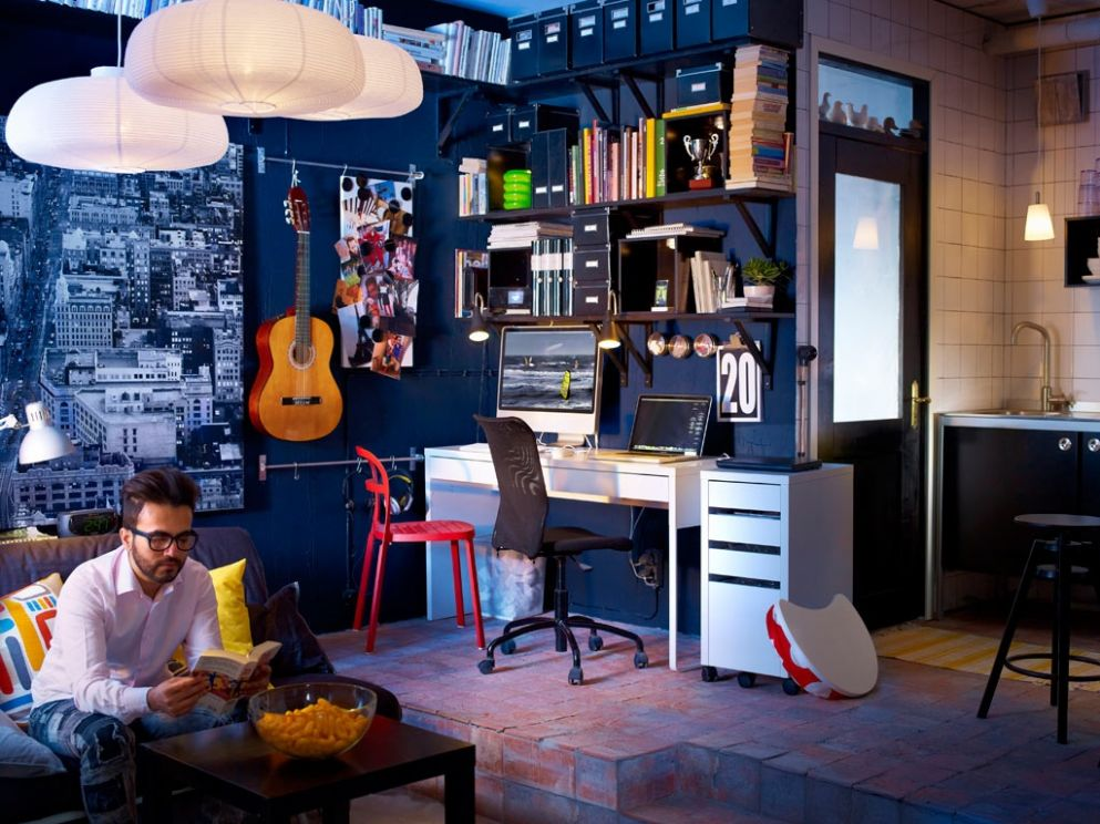 dark blue decor music room work space | Interior Design Ideas.