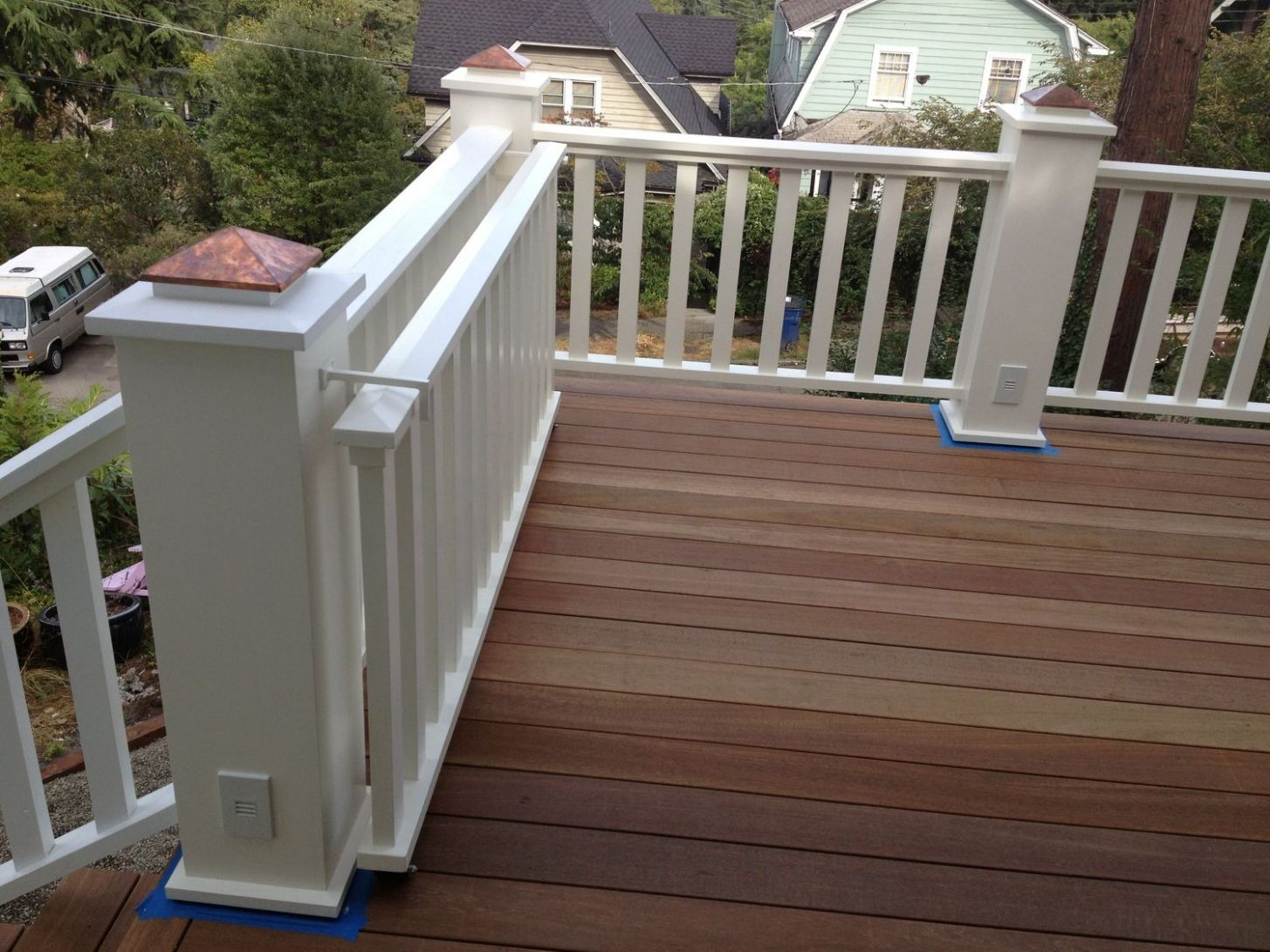 deck with rolling gate, painted.JPG | Deck gate, Backyard gates ...