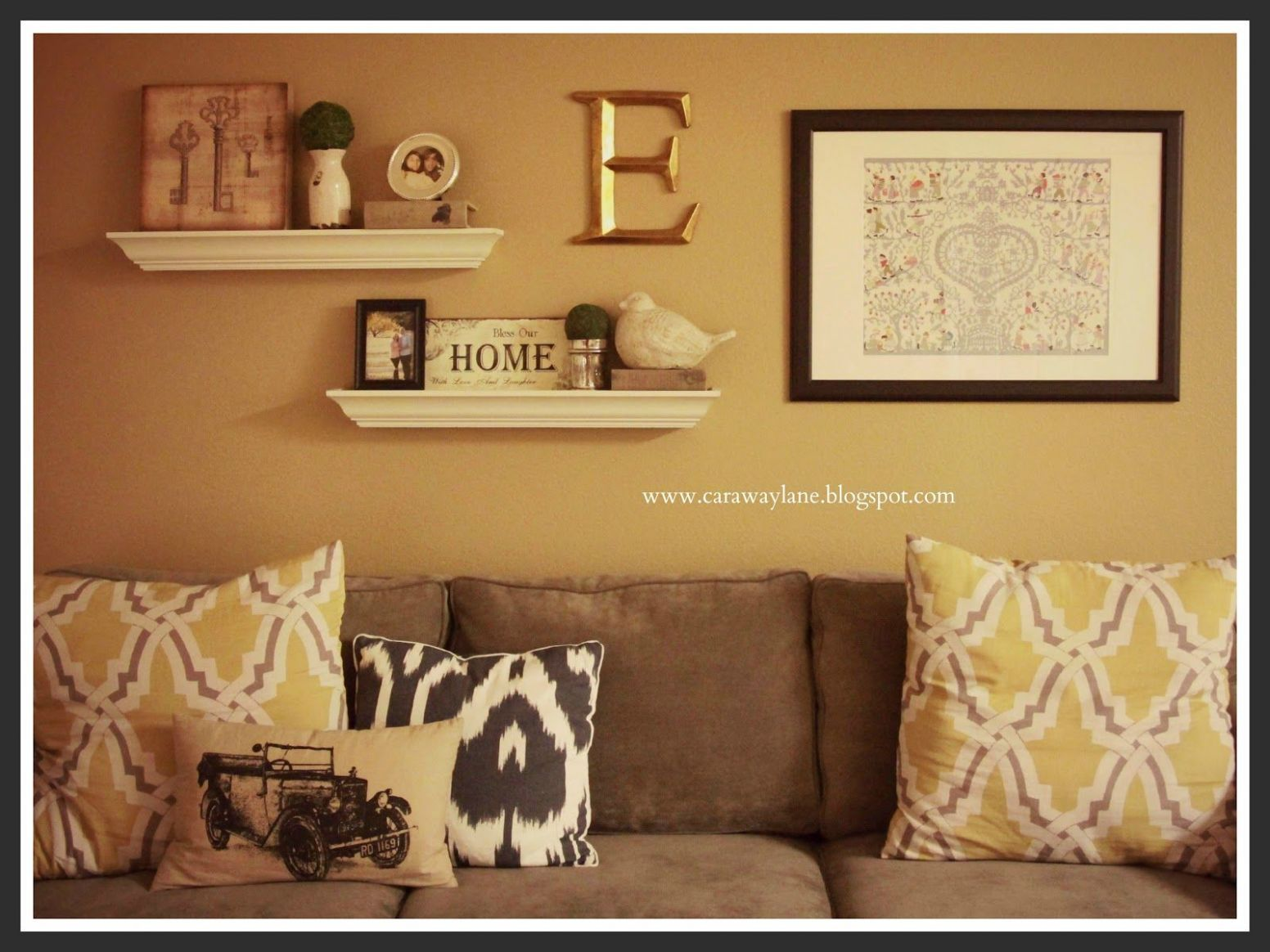 decorate over a sofa | Above the Couch Wall Decor | Family room ...