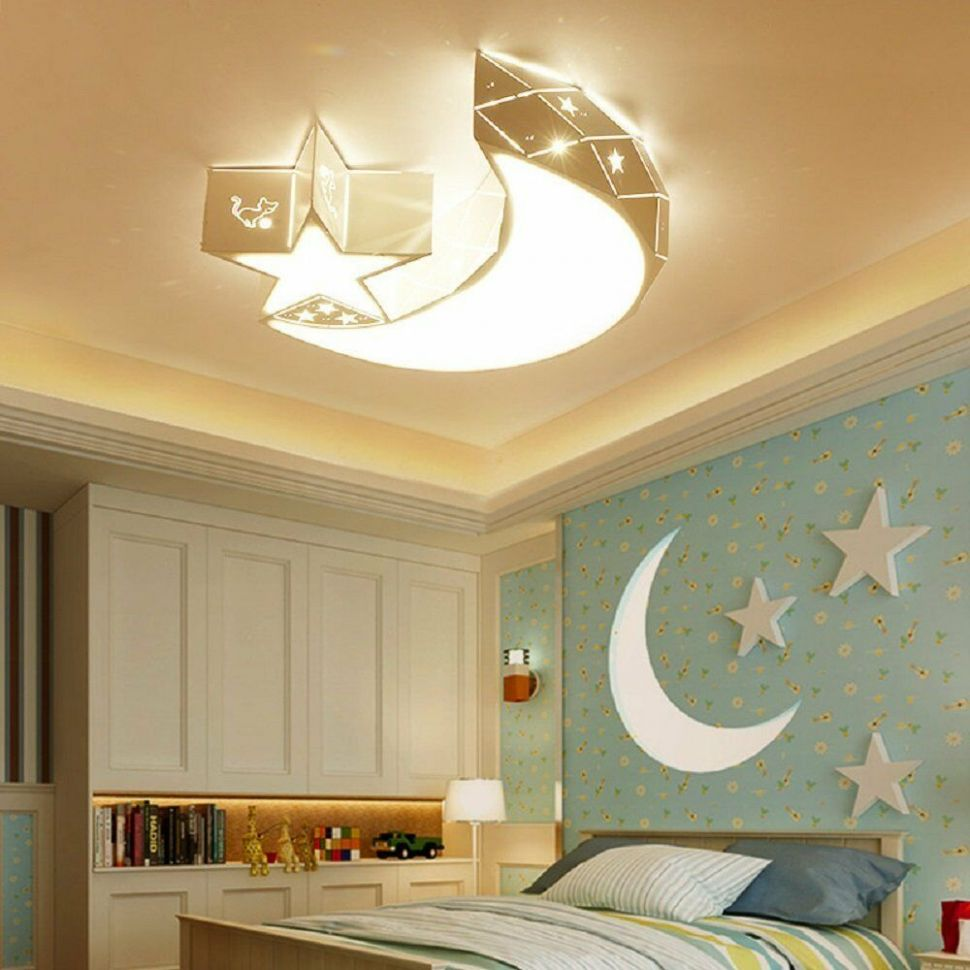 Details about Modern Acrylic Star Moon Ceiling Light Baby Kids Room Lamp  Fixture Bedroom Light - baby room light fixtures