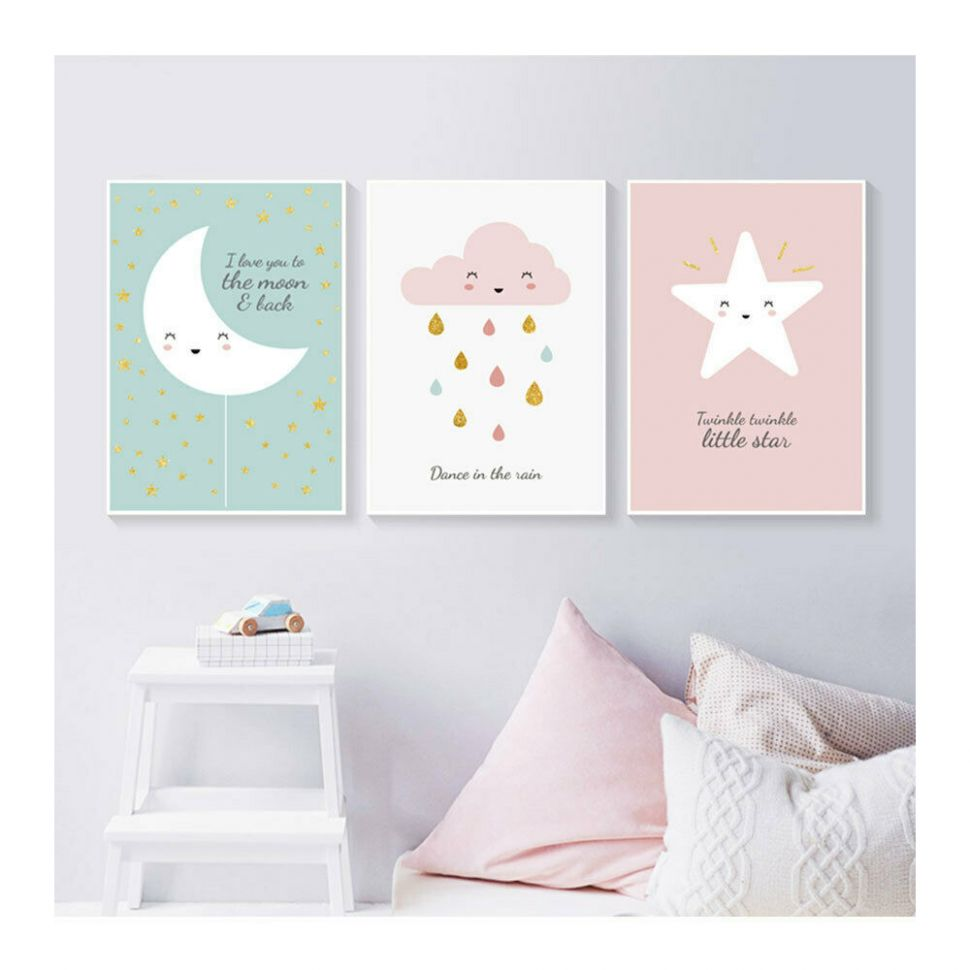 Details about Star Moon Cloud Posters Prints Baby Room Nursery Decor Wall  Art Canvas Painting - baby room paintings