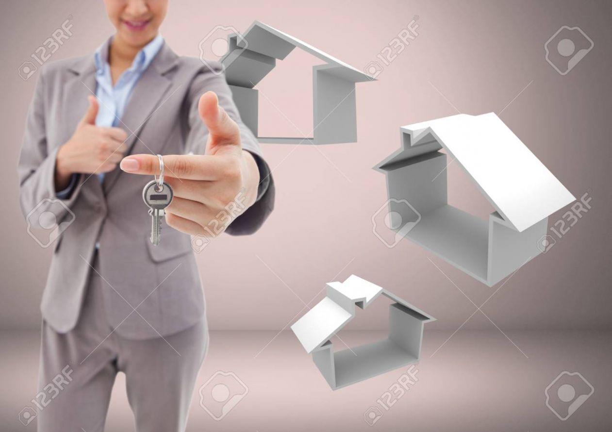 Digital composite of Woman Holding keys with house home icons.